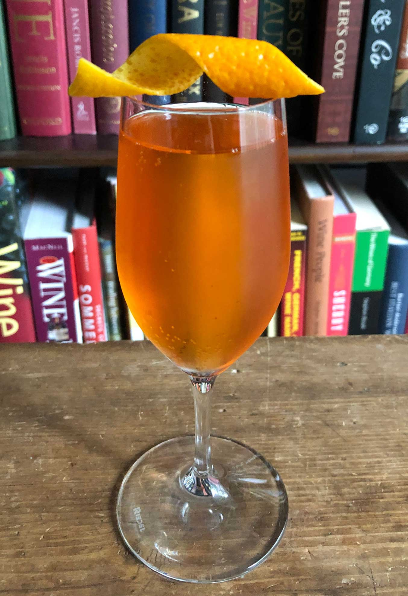 An example of the Cappelletti Royale, the mixed drink (cocktail) featuring sparkling wine, and Aperitivo Cappelletti; photo by Lee Edwards