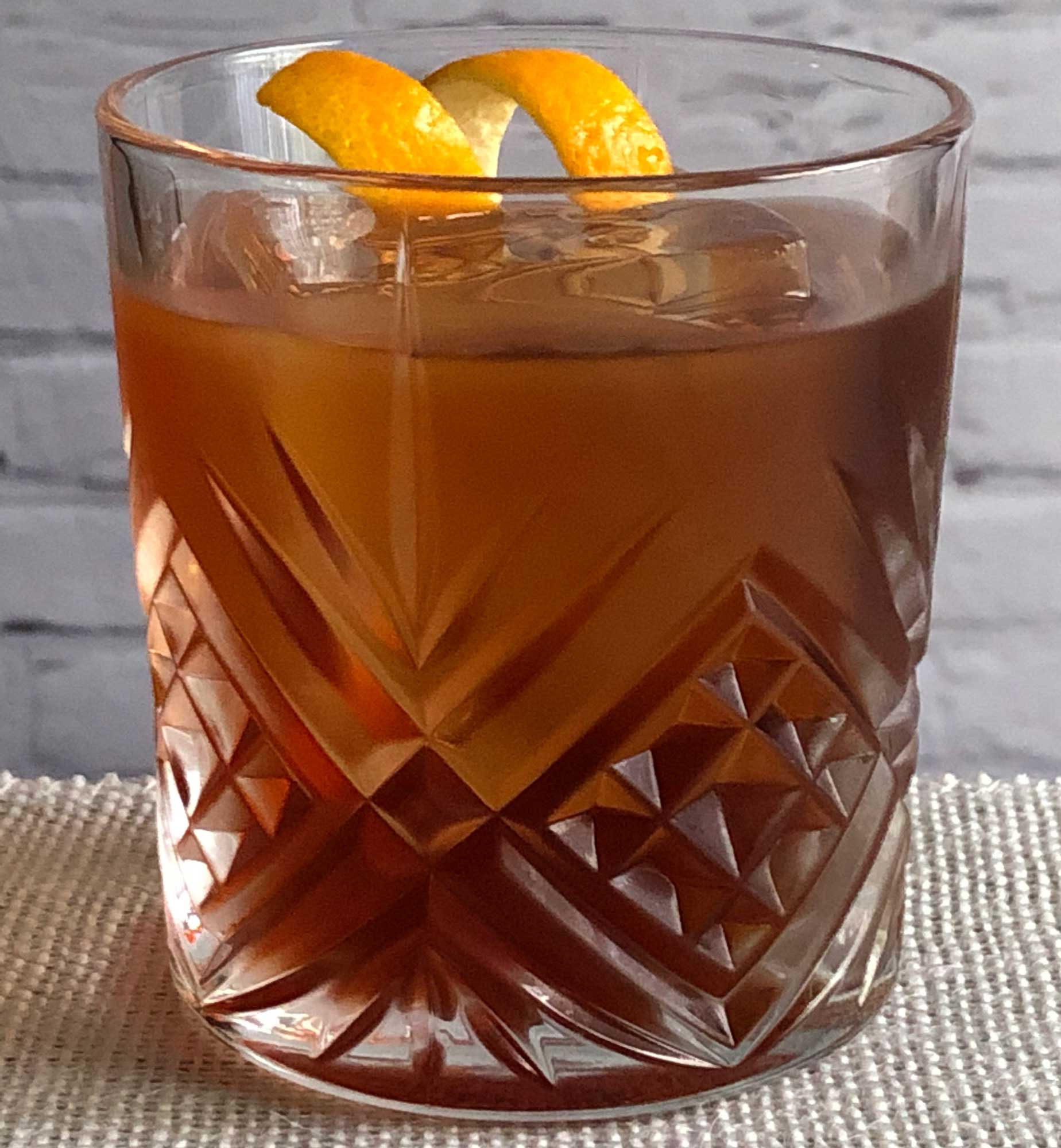 An example of the Petit Boulevardier, the mixed drink (cocktail) featuring Cardamaro Vino Amaro, Dolin Rouge Vermouth de Chambéry, and Aperitivo Cappelletti; photo by Lee Edwards