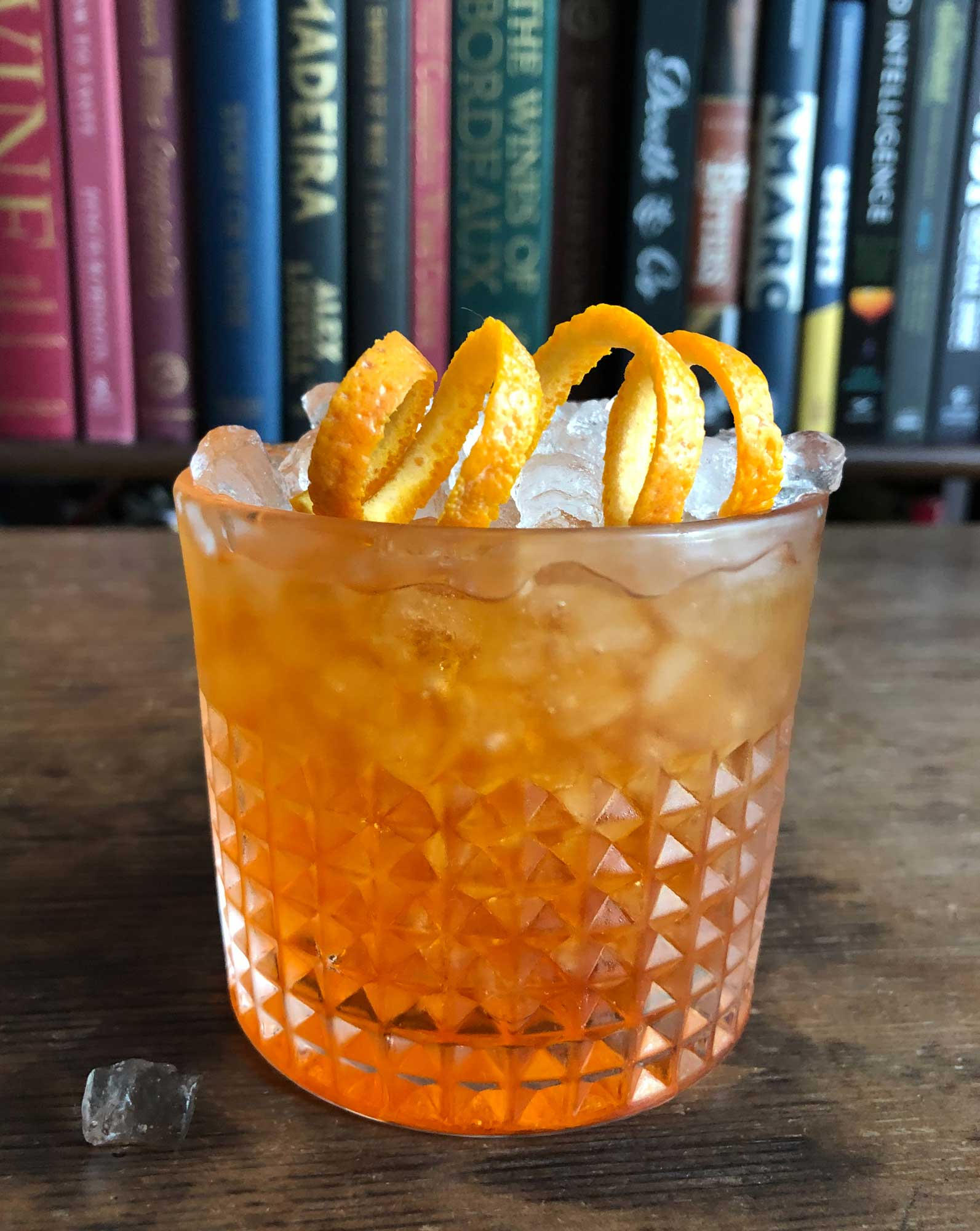 An example of the Negroni Sbagliato, the mixed drink (cocktail) featuring sparkling wine, Aperitivo Cappelletti, and Cocchi Vermouth di Torino; photo by Lee Edwards