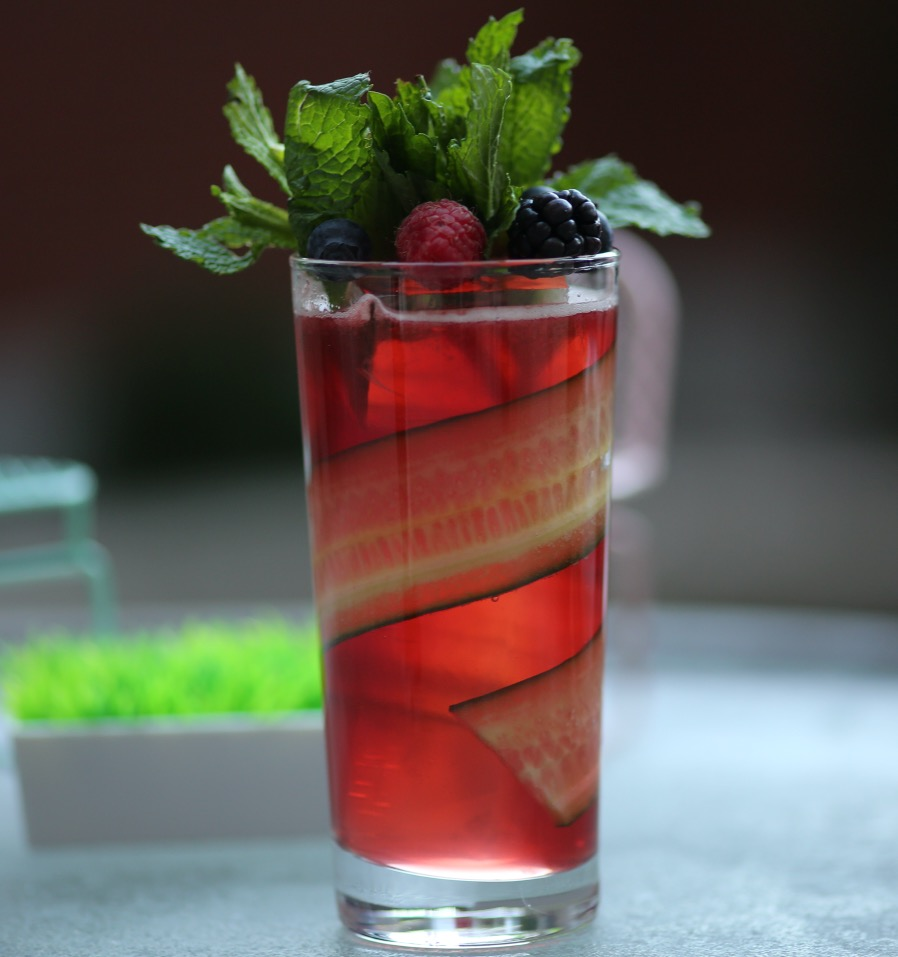 An example of the Cayuga Cup, the mixed drink (cocktail) featuring ginger ale or lemon soda or orange soda or lemon-lime soda, and Averell Damson Plum Gin Liqueur; photo by Lauren Clark