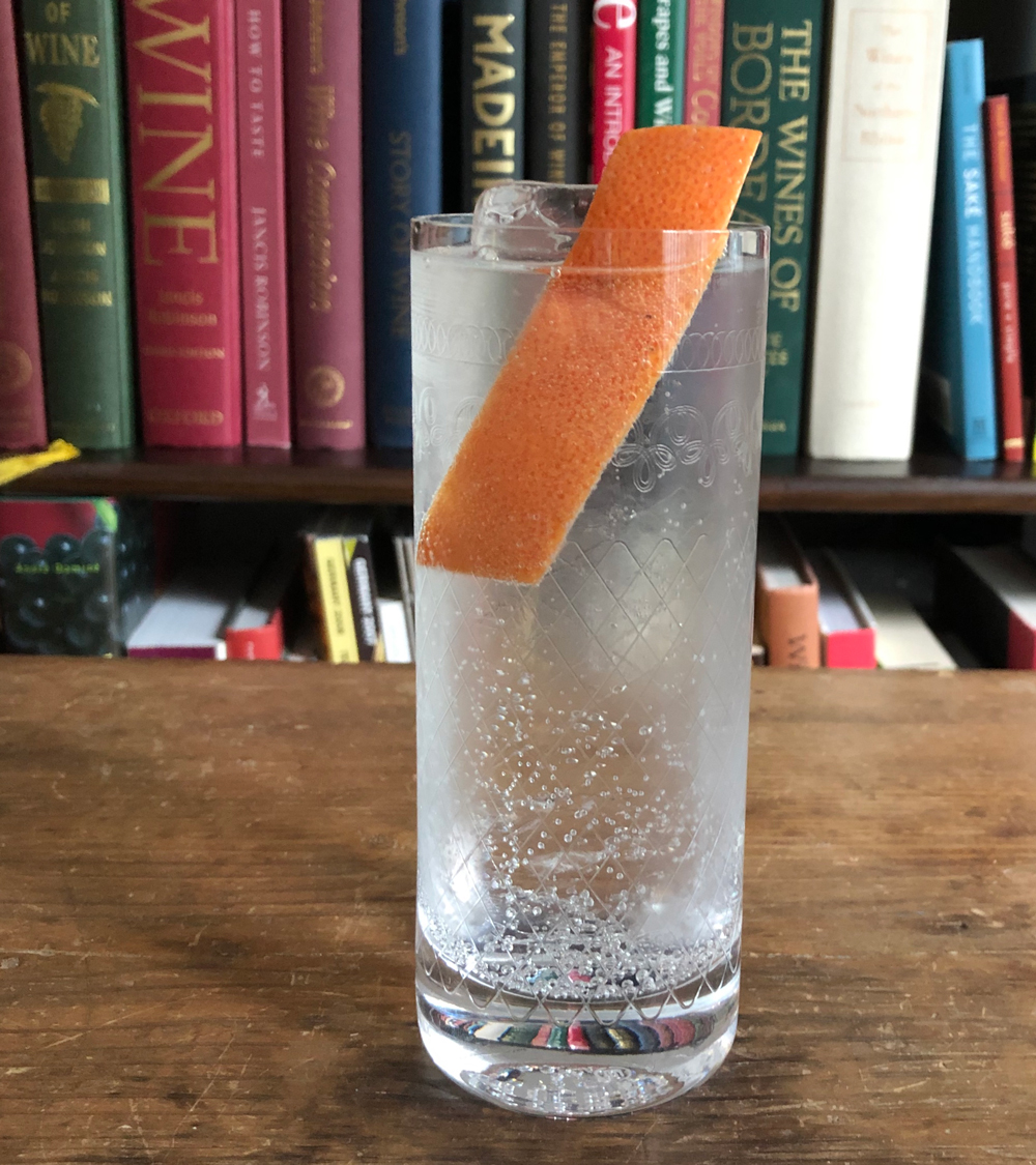 An example of the Bark and Bite, the mixed drink (cocktail) featuring tonic water, Batavia Arrack van Oosten, and Dolin Génépy le Chamois Liqueur; photo by Lee Edwards