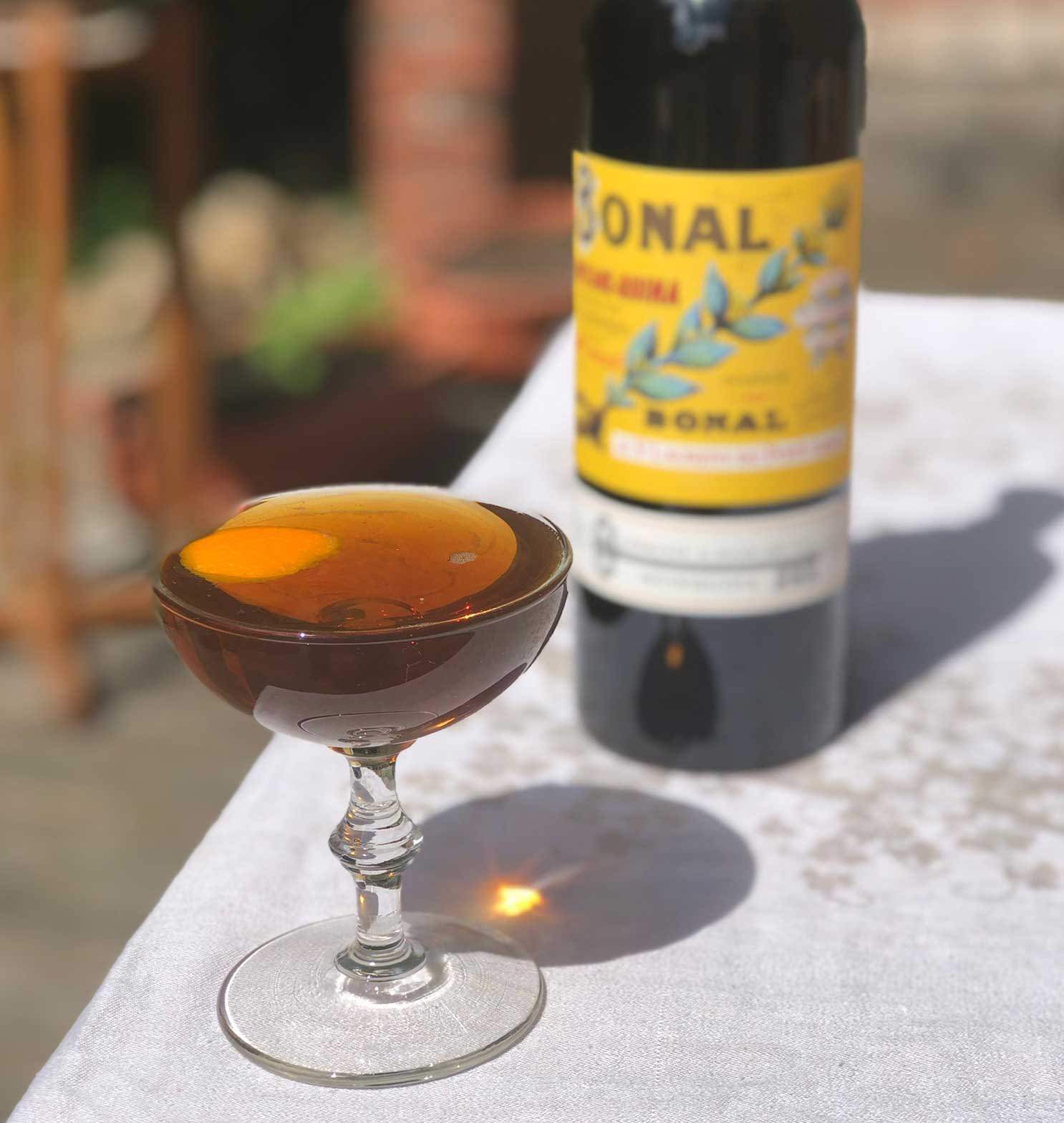 An example of the Bonal & Rye, the mixed drink (cocktail), by Todd Smith, San Francisco, featuring rye whiskey, Bonal Gentiane-Quina, orange bitters, and Angostura bitters