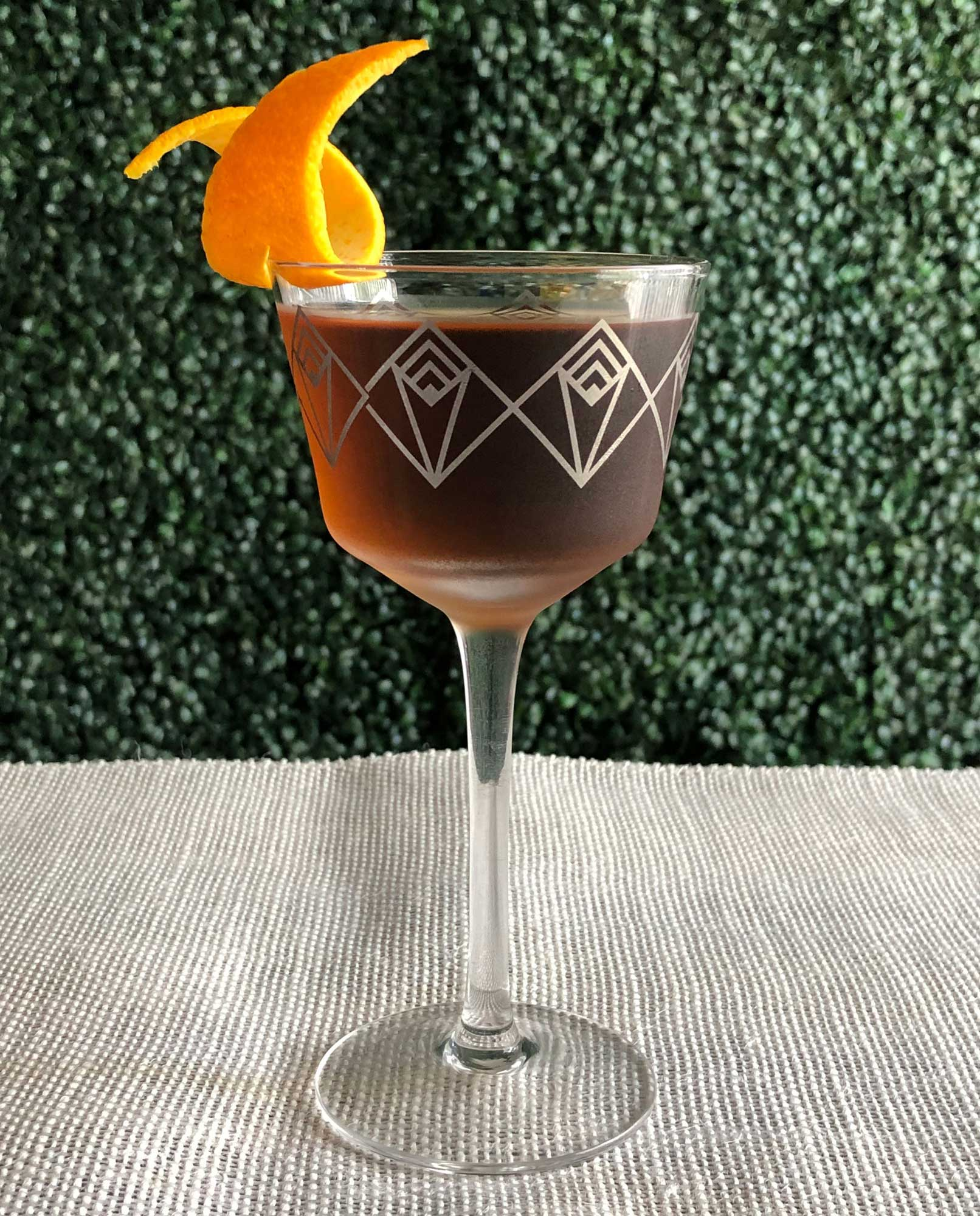 An example of the Bonal Martinez, the mixed drink (cocktail) featuring Hayman's Old Tom Gin, Bonal Gentiane-Quina, and maraschino liqueur; photo by Lee Edwards