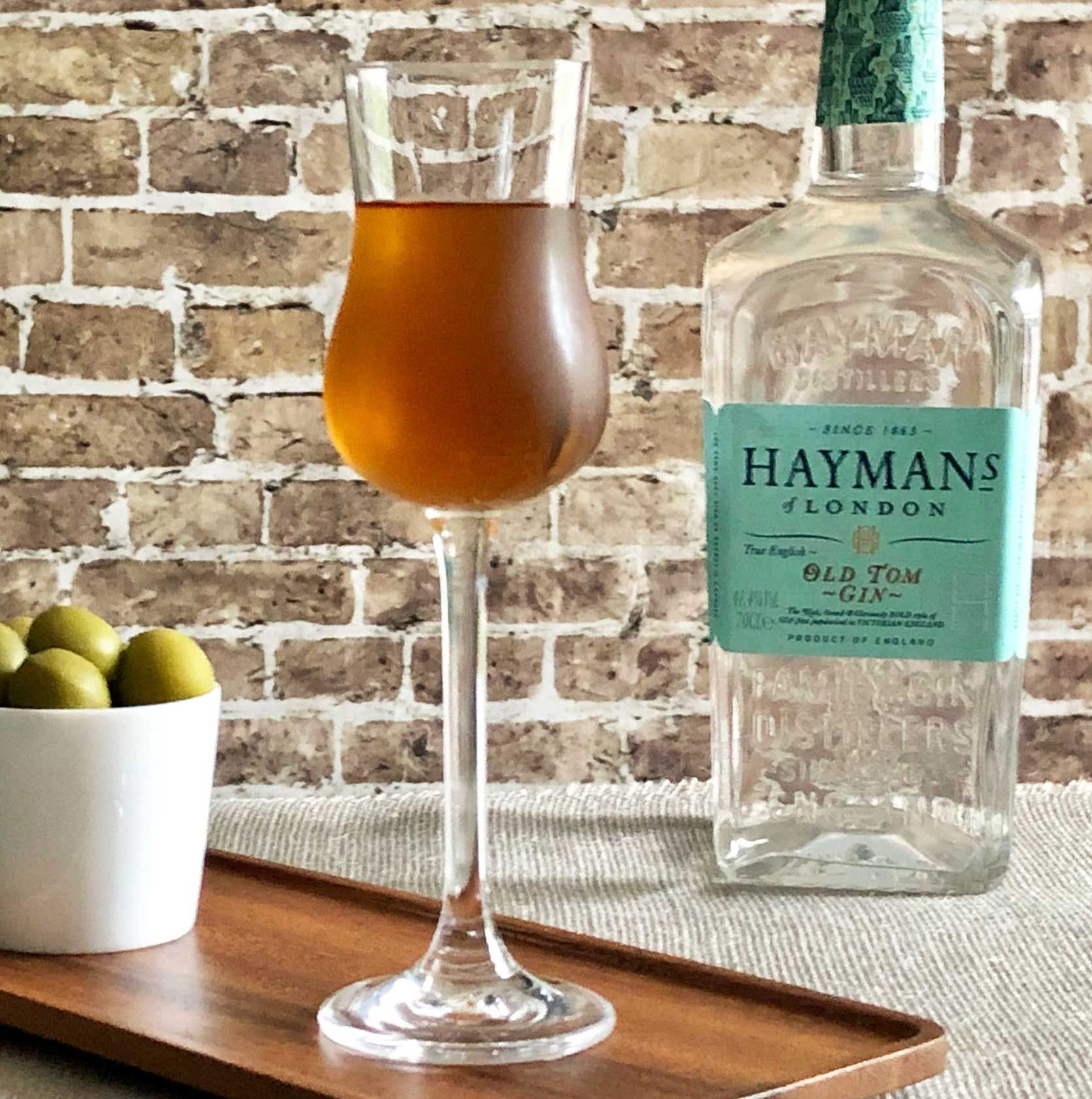 An example of the The Spring Cocktail, the mixed drink (cocktail), adapted from the Savoy Cocktail Book by Erik Ellestad, featuring Hayman's Old Tom Gin, Bonal Gentiane-Quina, Bénédictine, and orange bitters; photo by Lee Edwards
