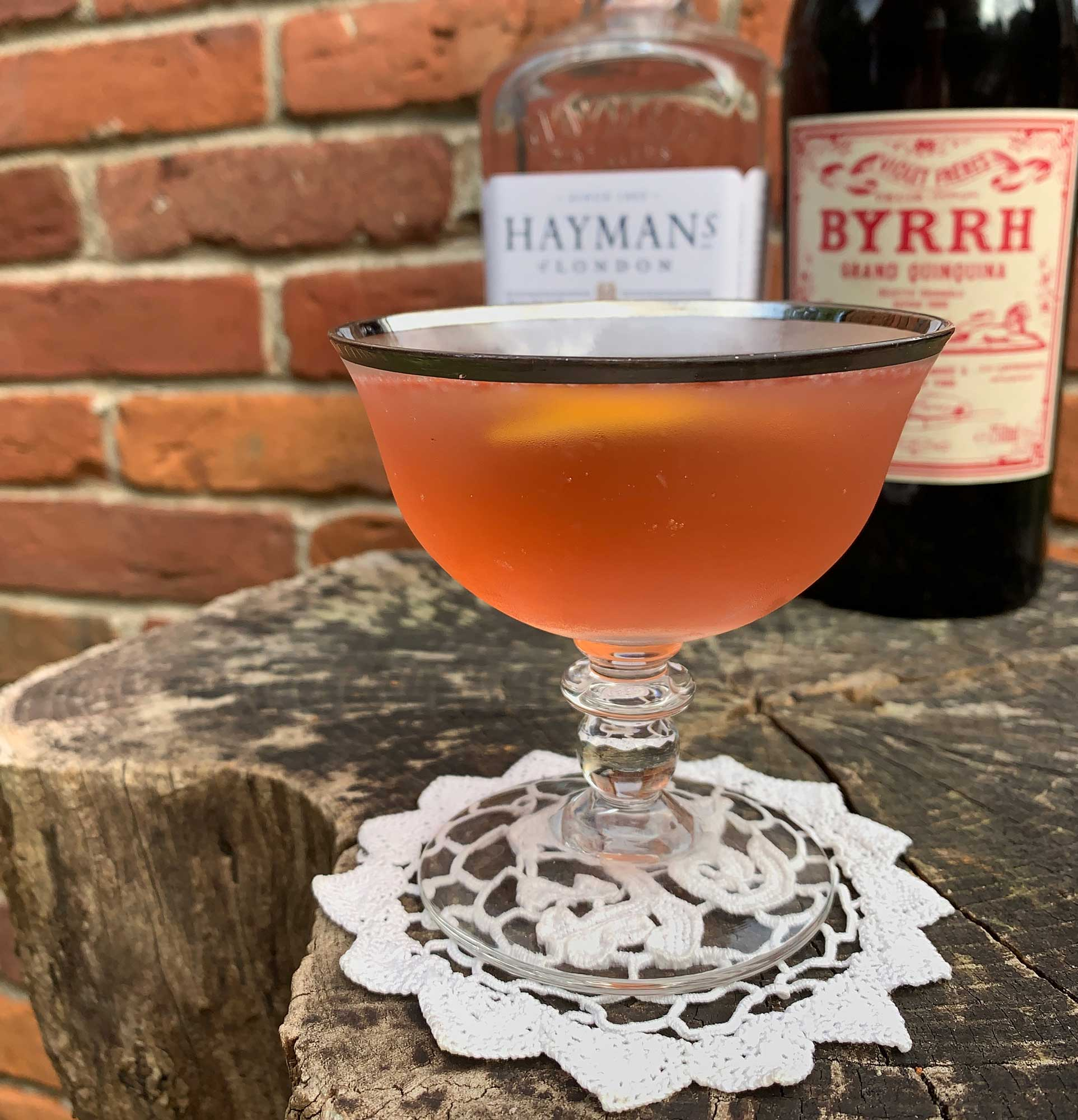 An example of the Byrrh Special, the mixed drink (cocktail) featuring Hayman's Royal Dock Navy Strength Gin, Byrrh Grand Quinquina, and lemon juice