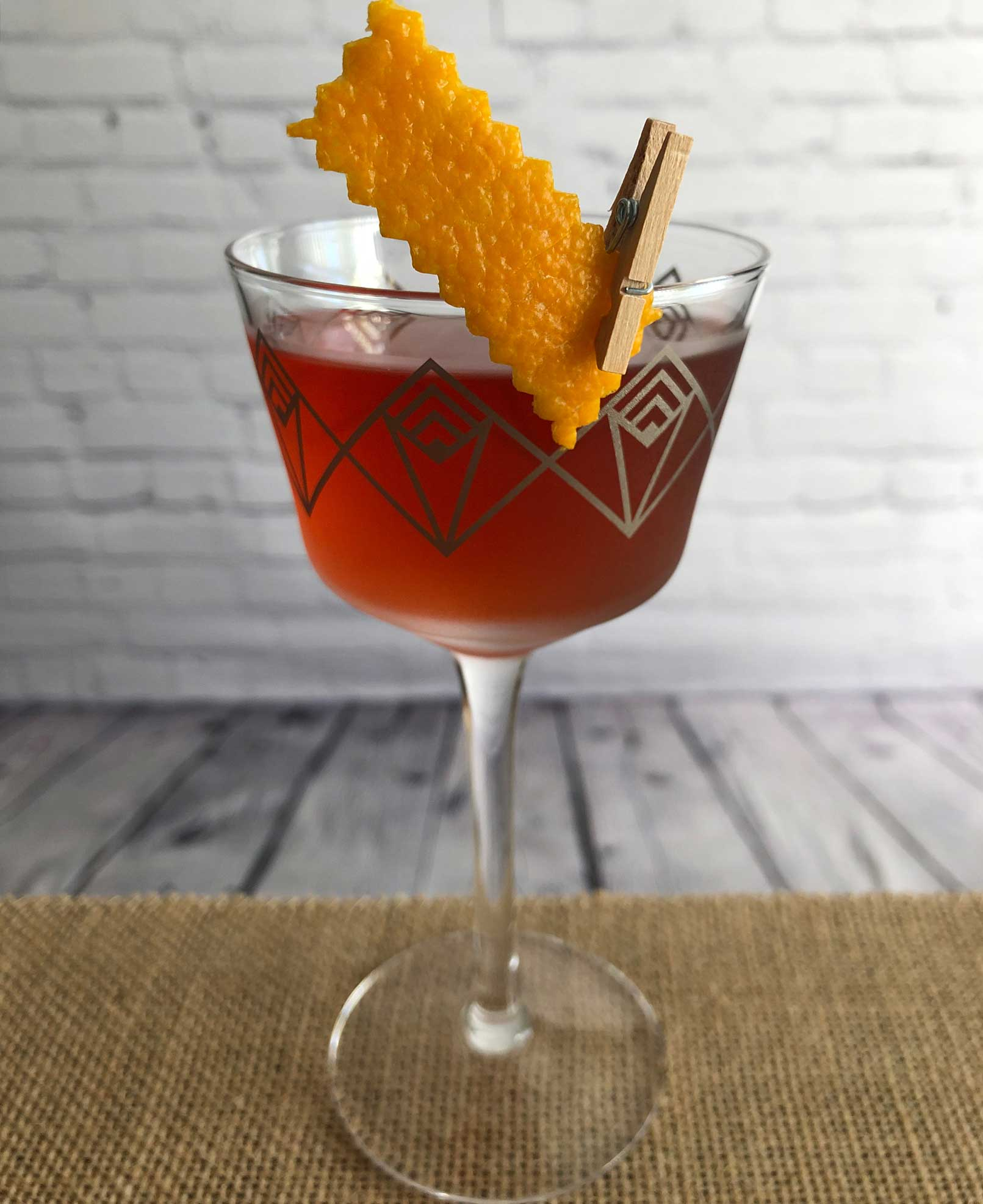 An example of the Byrrh Martinez, the mixed drink (cocktail) featuring Hayman's Old Tom Gin, Byrrh Grand Quinquina, and maraschino liqueur; photo by Lee Edwards