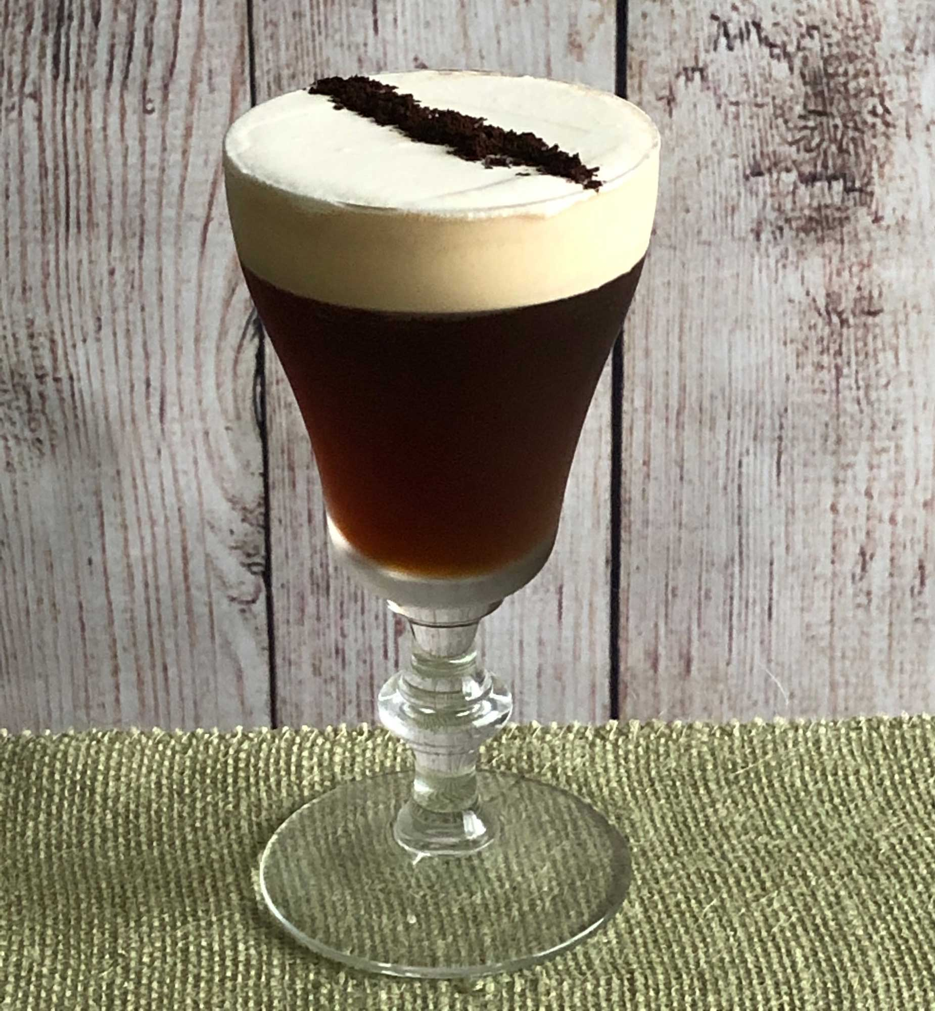 An example of the Freddo Corretto, the mixed drink (cocktail), by Salt Air, Venice, CA, featuring Cardamaro Vino Amaro, cold brew coffee, raw sugar syrup, and Angostura bitters; photo by Lee Edwards