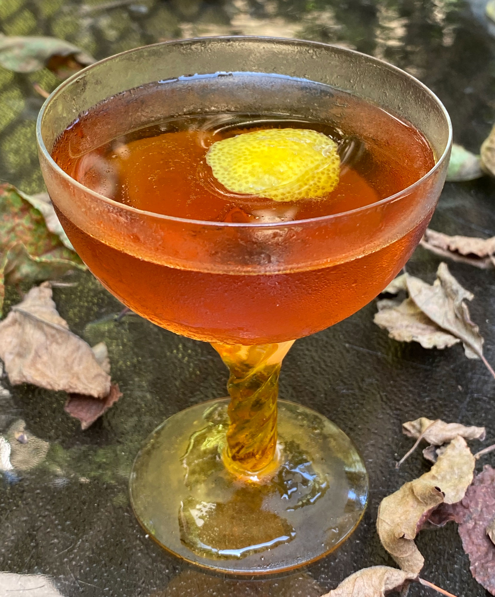 An example of the Harvest Cocktail, the mixed drink (cocktail) featuring apple brandy, Cardamaro Vino Amaro, and Angostura bitters; photo by Martin Doudoroff