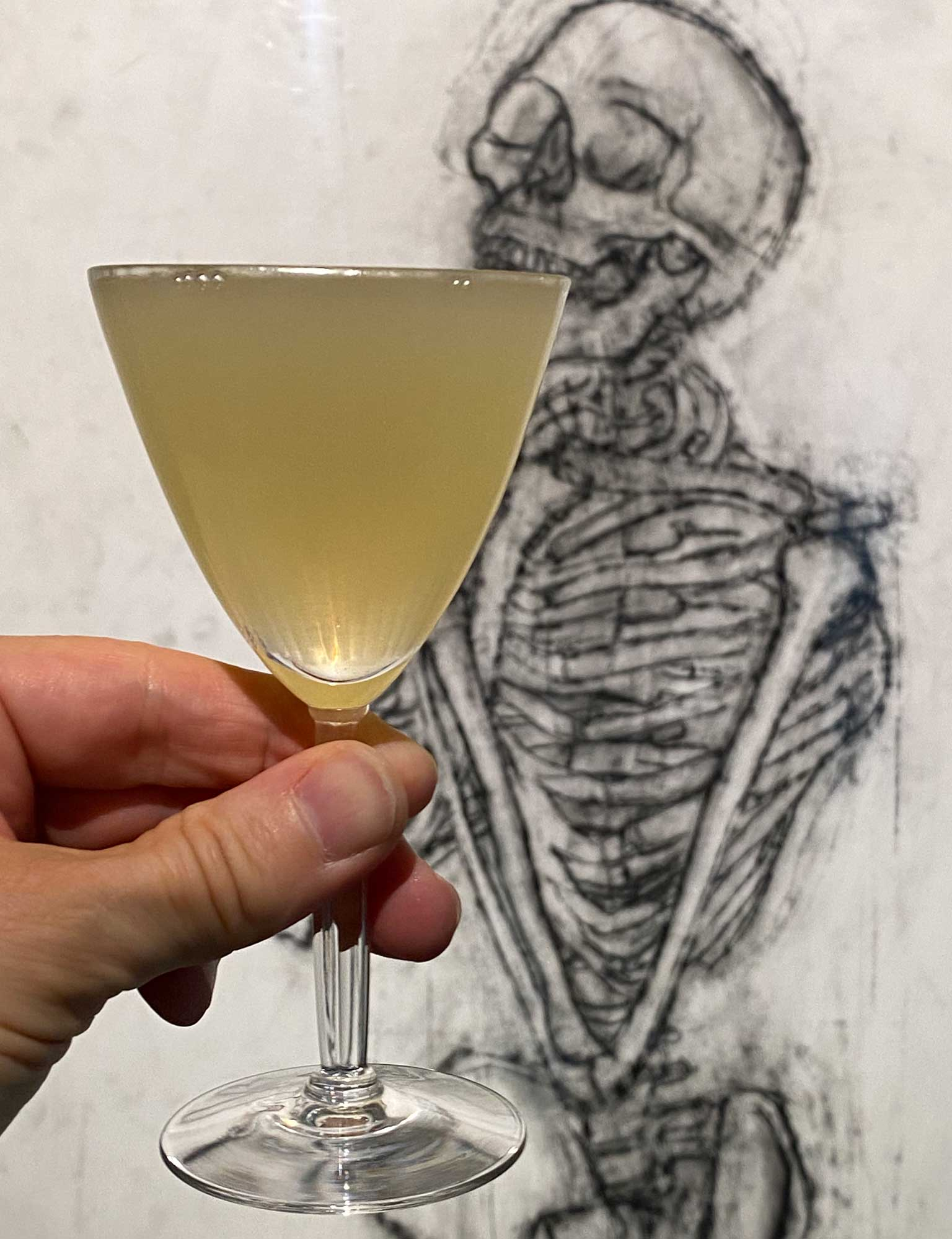 An example of the Corpse Reviver #2, the mixed drink (cocktail) featuring Hayman's London Dry Gin, Cocchi Americano Bianco, orange-flavored liqueur, lemon juice, and absinthe; photo by Martin Doudoroff