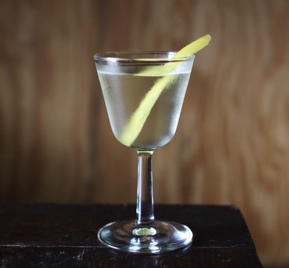 An example of the Improved Vesper, the mixed drink (cocktail) featuring Hayman's London Dry Gin, vodka, and Cocchi Americano Bianco; photo by Christopher Ciesiel, The Campground (Kansas City, MO)