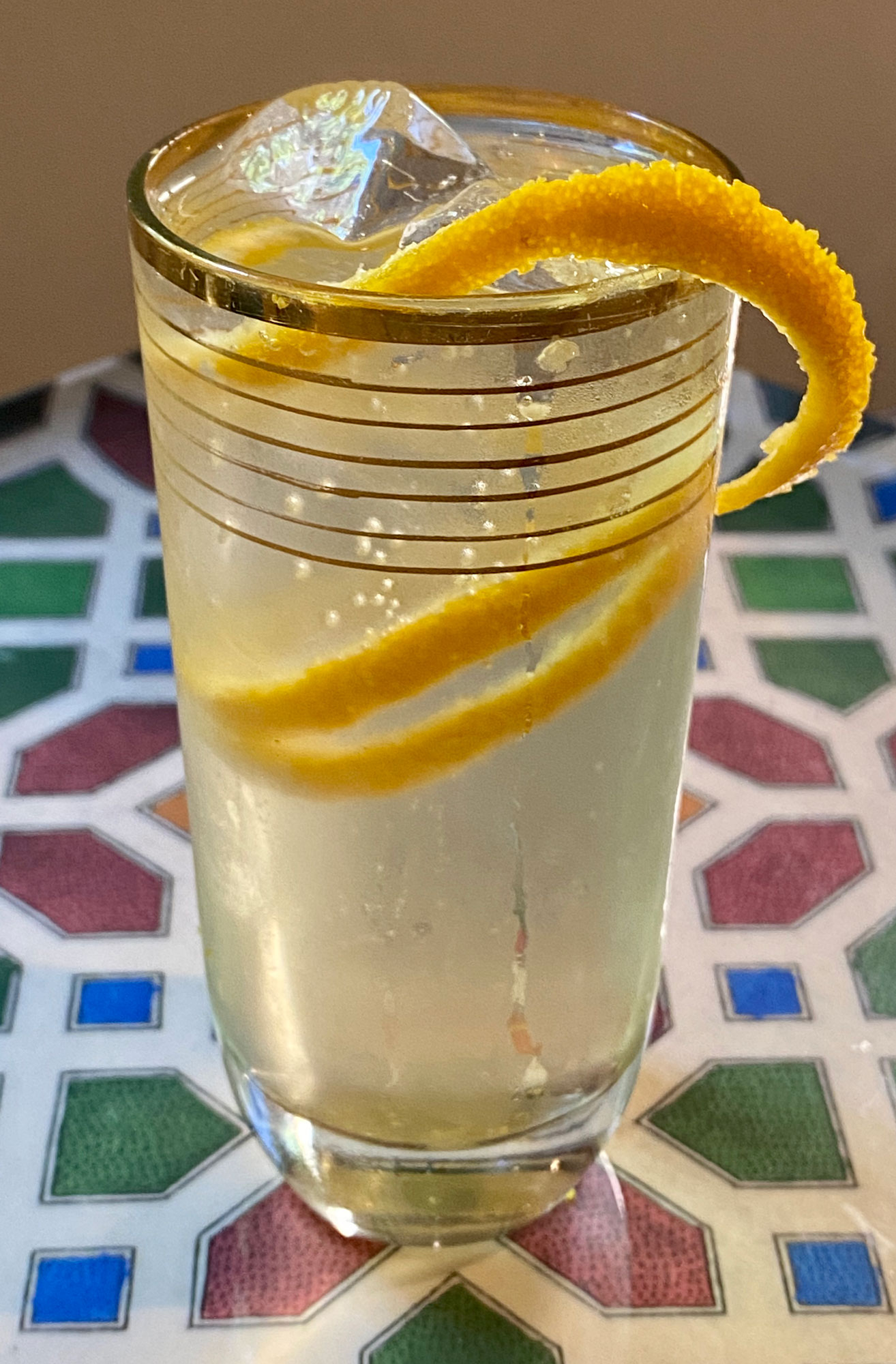 An example of the Americano Classico, the mixed drink (cocktail) featuring Cocchi Americano Bianco, and soda water; photo by Martin Doudoroff