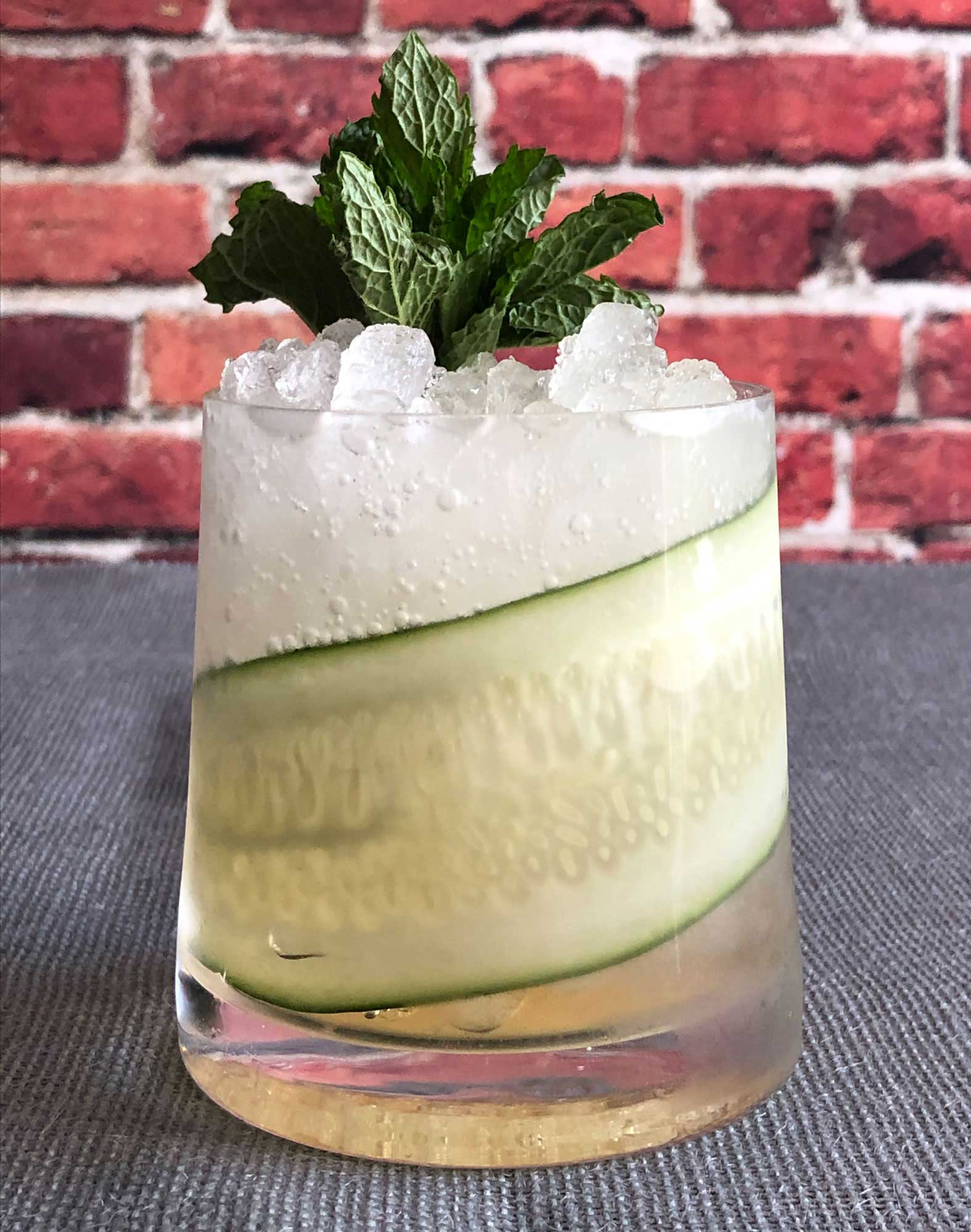 An example of the Capri Classic, the mixed drink (cocktail), by Macchialina, Miami Beach, Florida, featuring Cocchi Americano Bianco, and soda water; photo by Lee Edwards