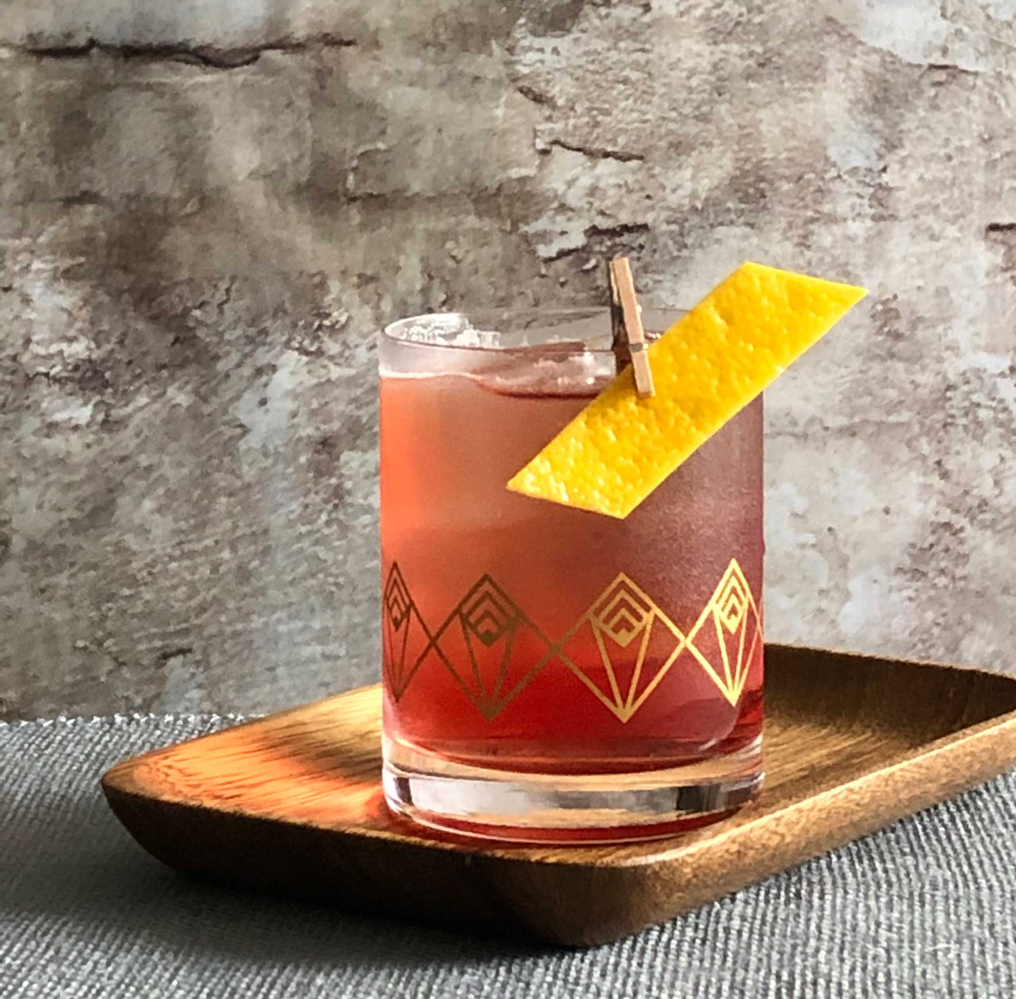 An example of the Refreshed Rosa, the mixed drink (cocktail) featuring Cocchi Americano Rosa, Dolin Blanc Vermouth de Chambéry, and india pale ale; photo by Lee Edwards