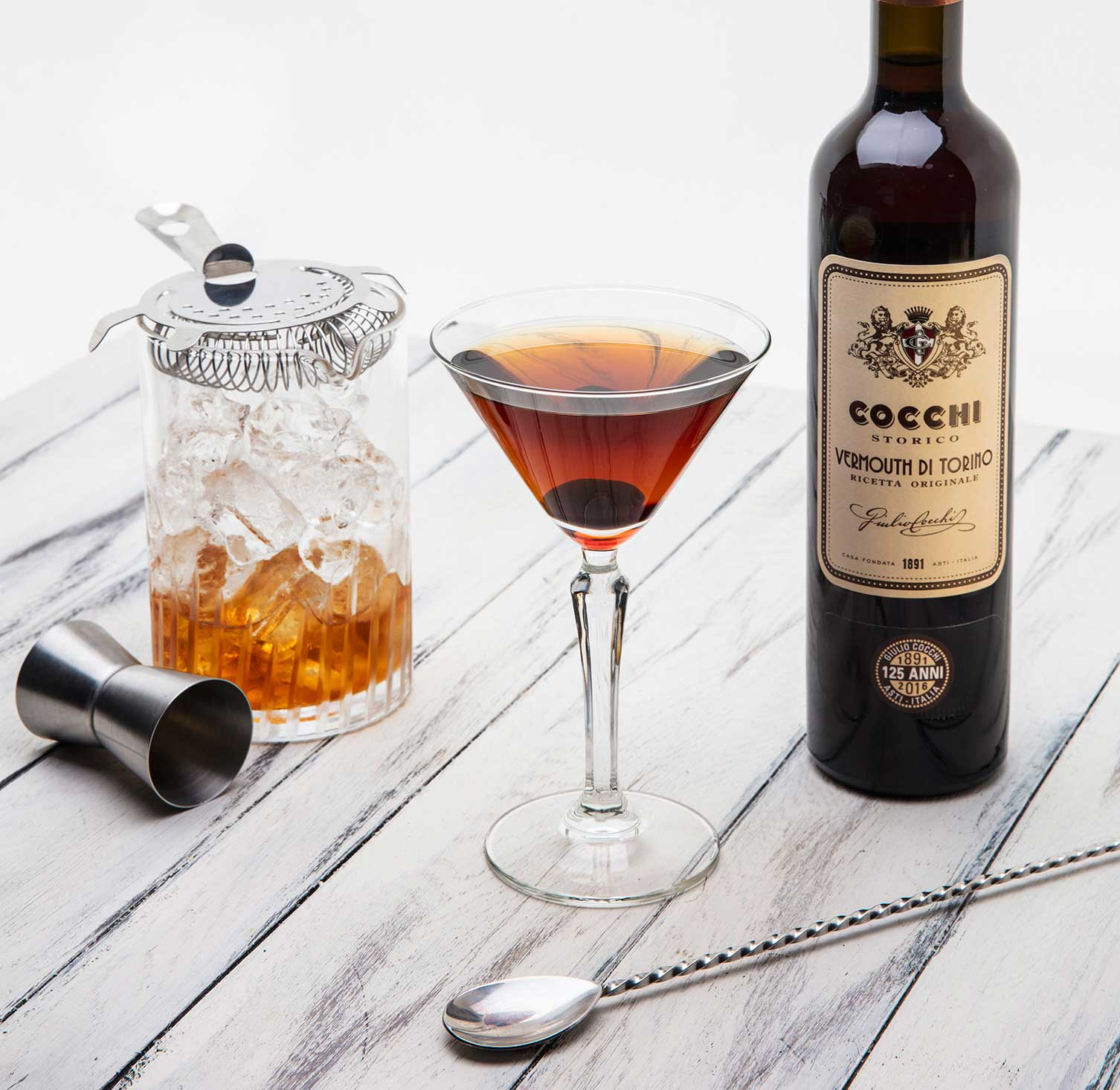 An example of the Rye Manhattan, the mixed drink (cocktail) featuring rye whiskey, Cocchi Vermouth di Torino, and Angostura bitters; photo by Giulio Cocchi Spumanti Srl