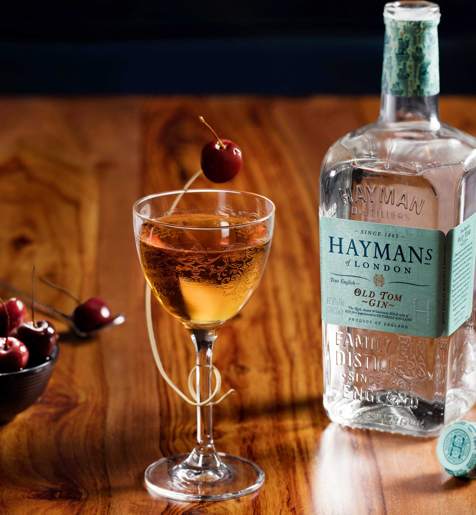 An example of the Martinez, the mixed drink (cocktail) featuring Hayman's Old Tom Gin, Cocchi Vermouth di Torino, maraschino liqueur, and orange bitters; photo by Hayman's of London