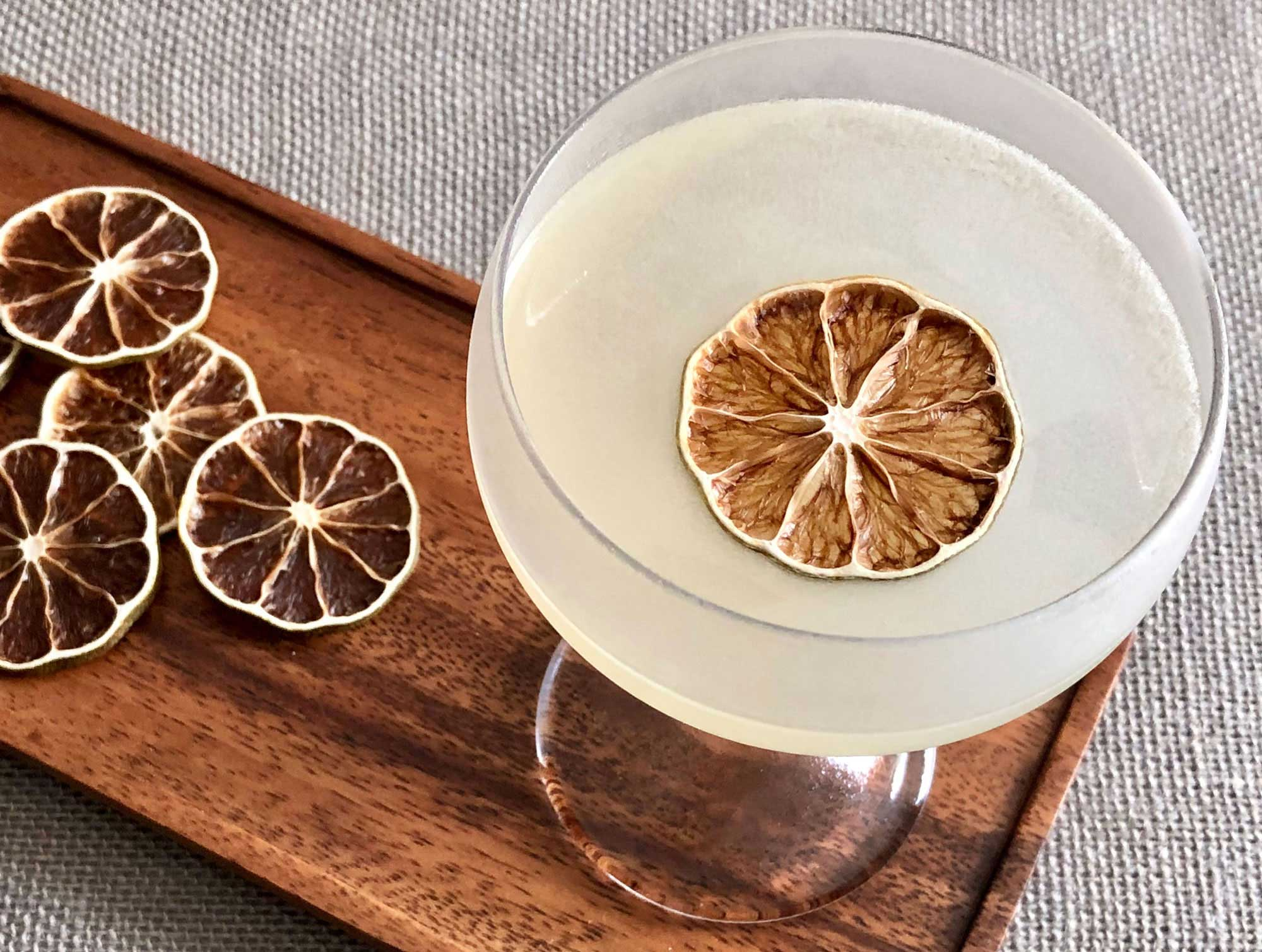 An example of the Last Run, the mixed drink (cocktail) featuring Dolin Génépy le Chamois Liqueur, Hayman's London Dry Gin, maraschino liqueur, and lime juice; photo by Lee Edwards