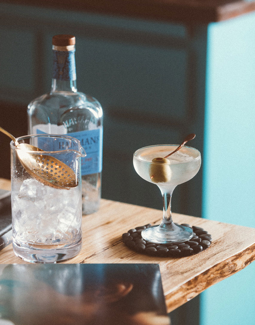 An example of the The 50/50 Martini, the mixed drink (cocktail) featuring Hayman's London Dry Gin, Dolin Dry Vermouth de Chambéry, and orange bitters; photo by S. Kallstrand