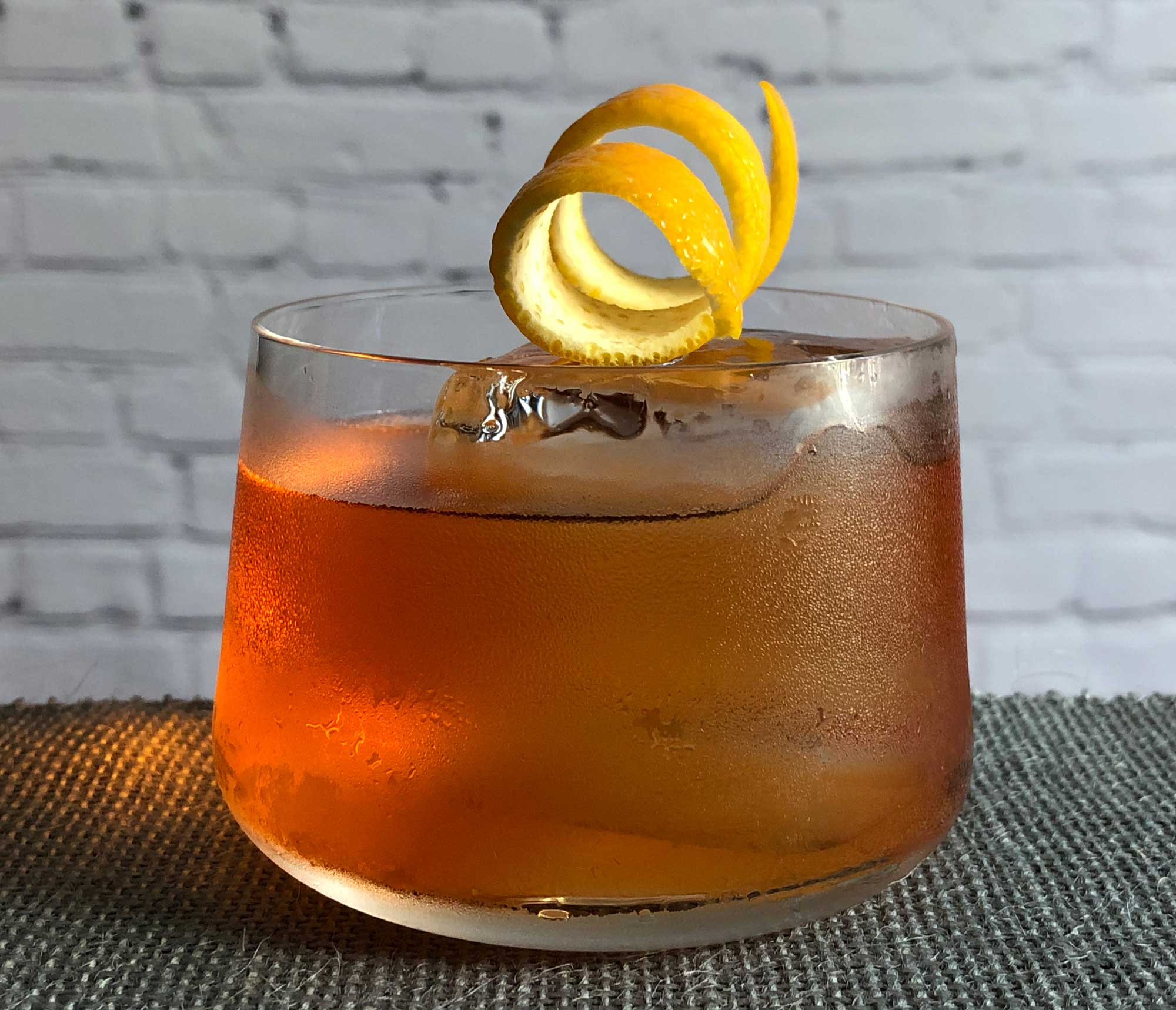 An example of the Old Pal, the mixed drink (cocktail) featuring bourbon whiskey, Aperitivo Cappelletti, and Dolin Dry Vermouth de Chambéry; photo by Lee Edwards