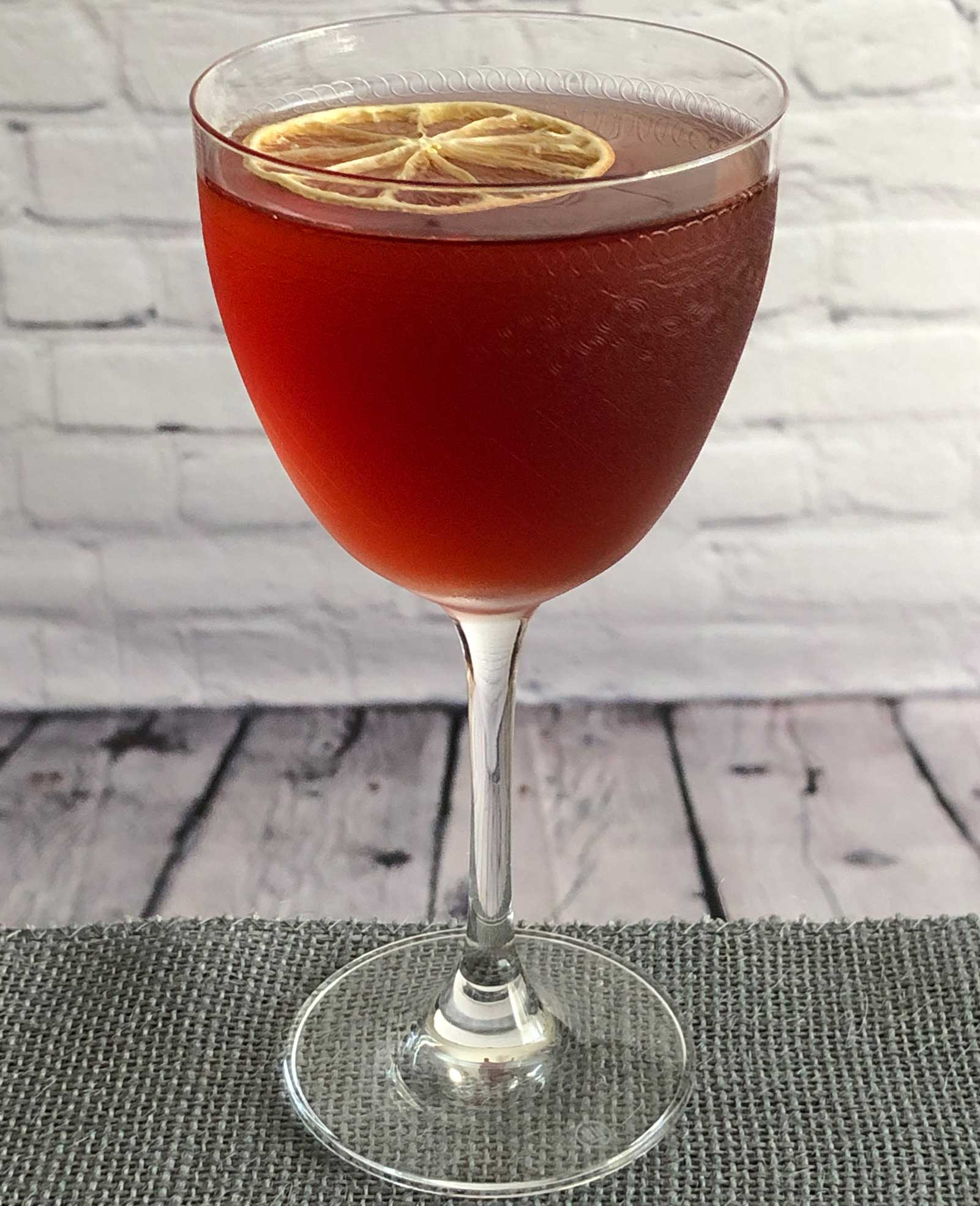 An example of the The Prime Directive no. 2, the mixed drink (cocktail) featuring Dolin Dry Vermouth de Chambéry, Salers Gentian Apéritif, and Byrrh Grand Quinquina; photo by Lee Edwards
