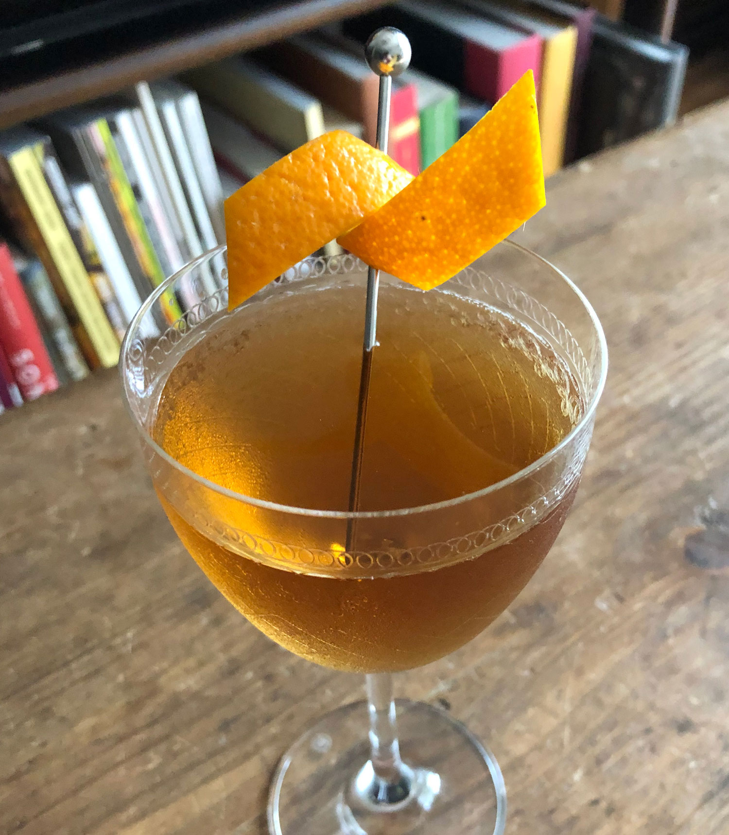 An example of the Bobby Burns, the mixed drink (cocktail) featuring scotch whisky, Dolin Rouge Vermouth de Chambéry, and Bénédictine; photo by Lee Edwards