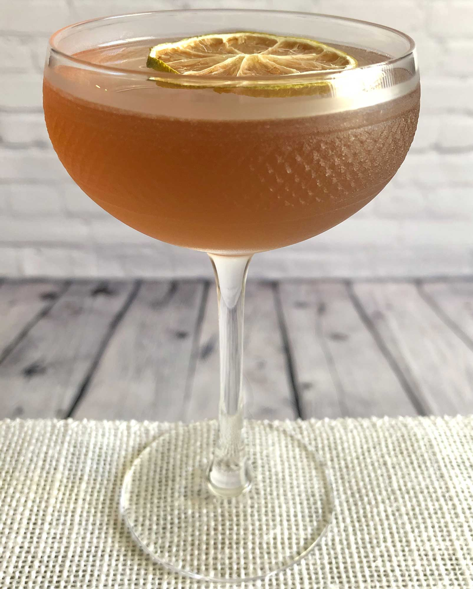 An example of the Daytime Daiquiri, the mixed drink (cocktail), by Jen Davis, The Eddy, Providence, Rhode Island, featuring Dolin Rouge Vermouth de Chambéry, lime juice, simple syrup, and light rum; photo by Lee Edwards