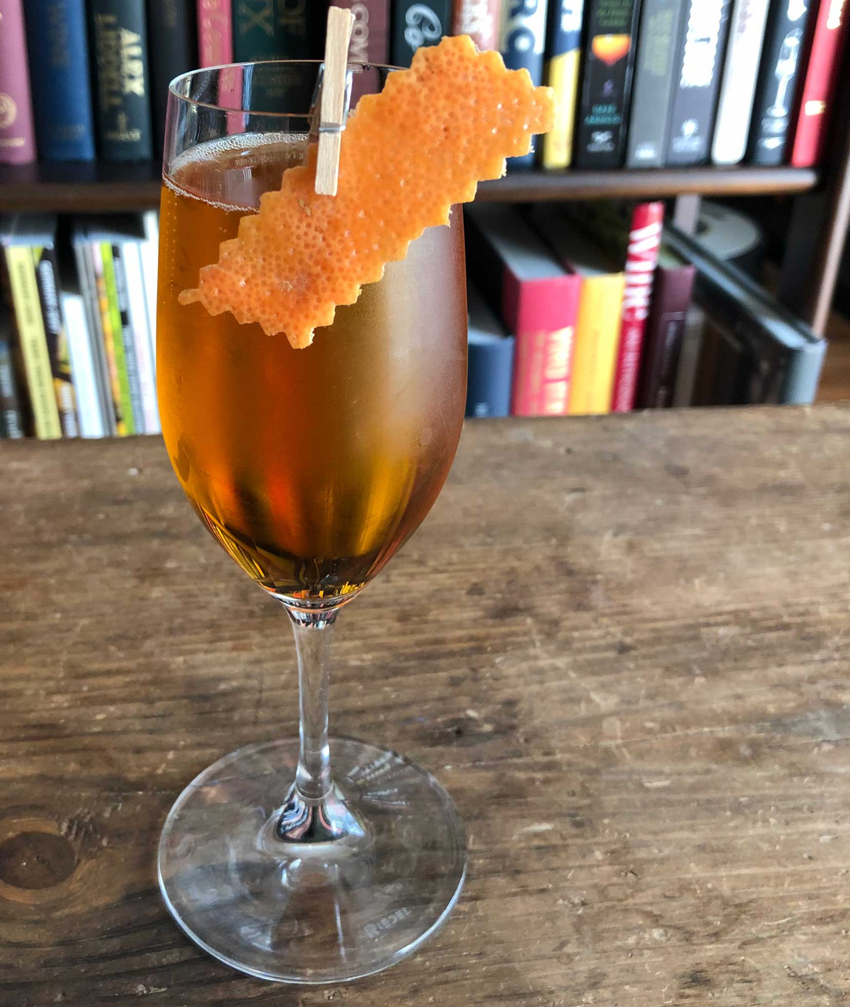 An example of the Champagne Supernova, the mixed drink (cocktail) featuring Cocchi Asti DOCG or sparkling wine, Rothman & Winter Orchard Apricot Liqueur, and Elisir Novasalus; photo by Lee Edwards