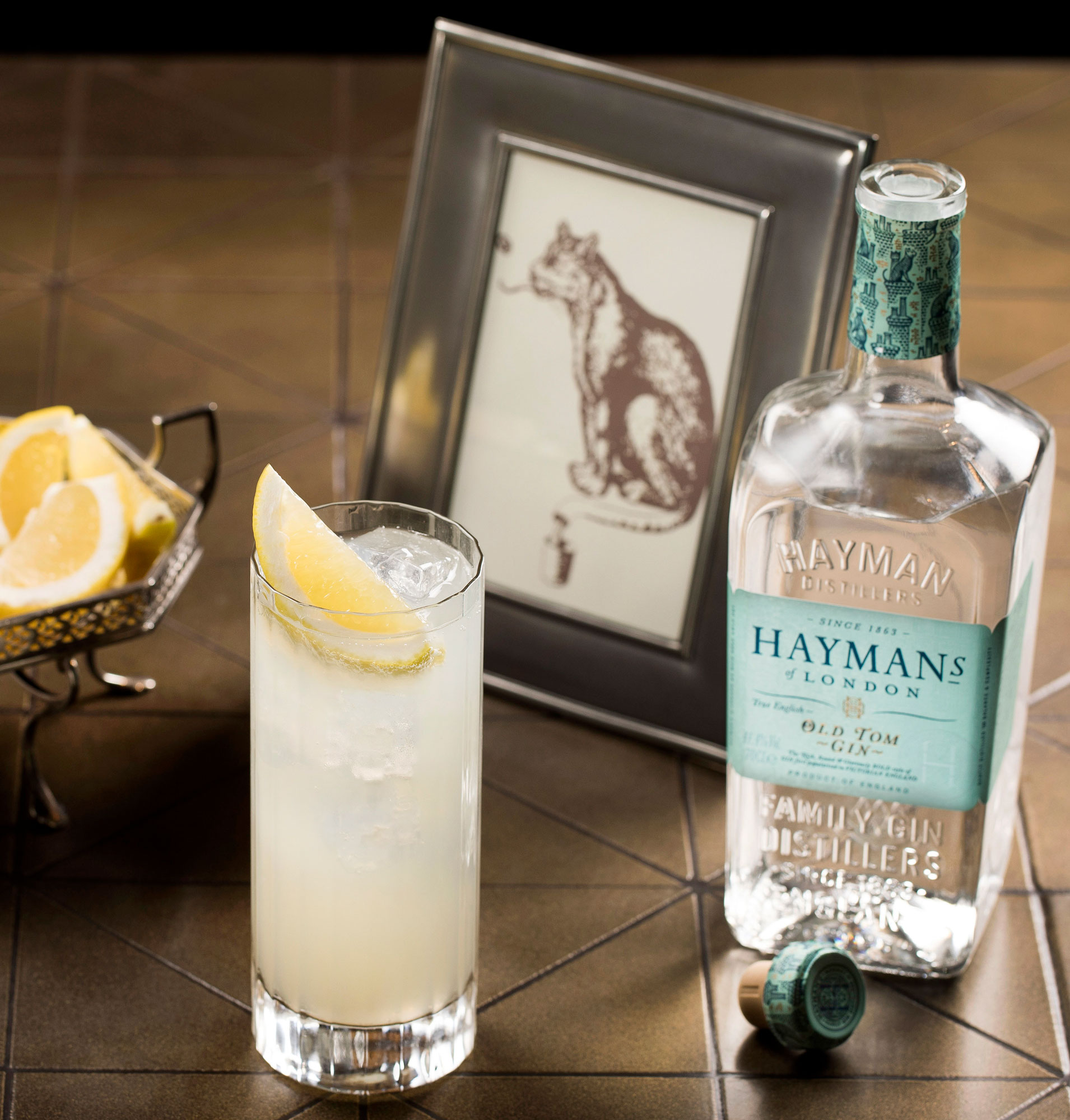 An example of the Tom Collins, the mixed drink (collins) featuring soda water, Hayman's Old Tom Gin, lemon juice, and simple syrup; photo by Hayman's of London