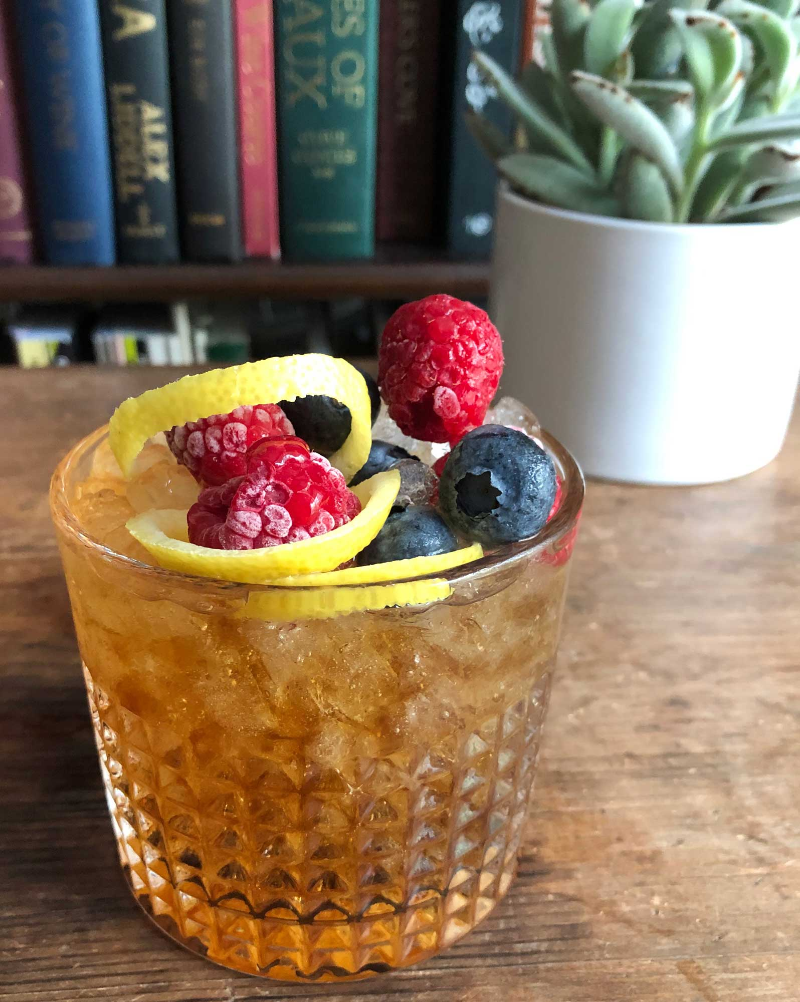 An example of the Conductor's Cup, the mixed drink (cocktail) featuring Bonal Gentiane-Quina, and sparkling wine; photo by Lee Edwards