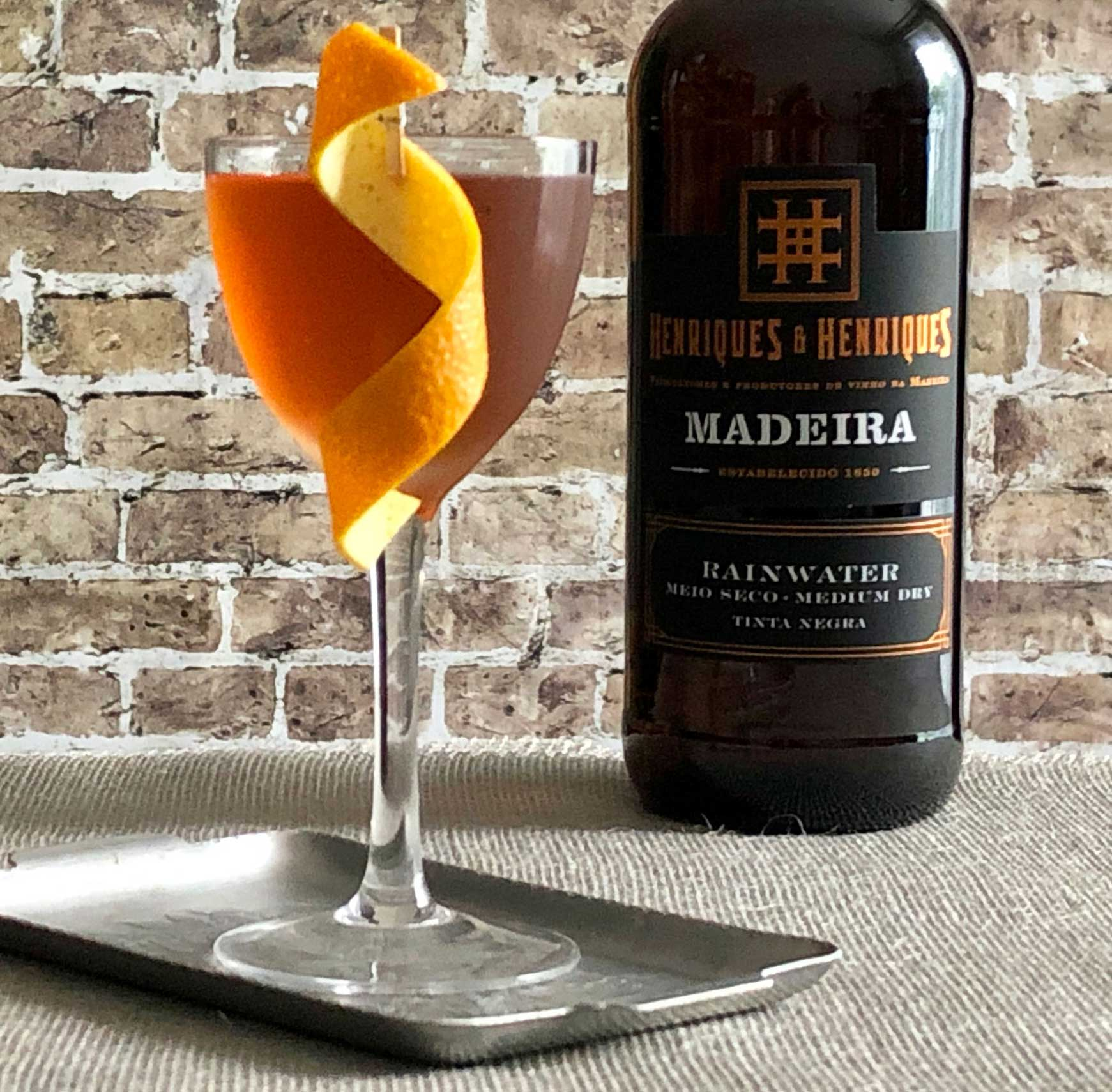 An example of the Union Cocktail, the mixed drink (cocktail), adapted from a recipe by Brother Cleve, Boston, MA, featuring irish whiskey, Henriques & Henriques Rainwater Madeira, Meletti, orange bitters, and Angostura bitters; photo by Lee Edwards