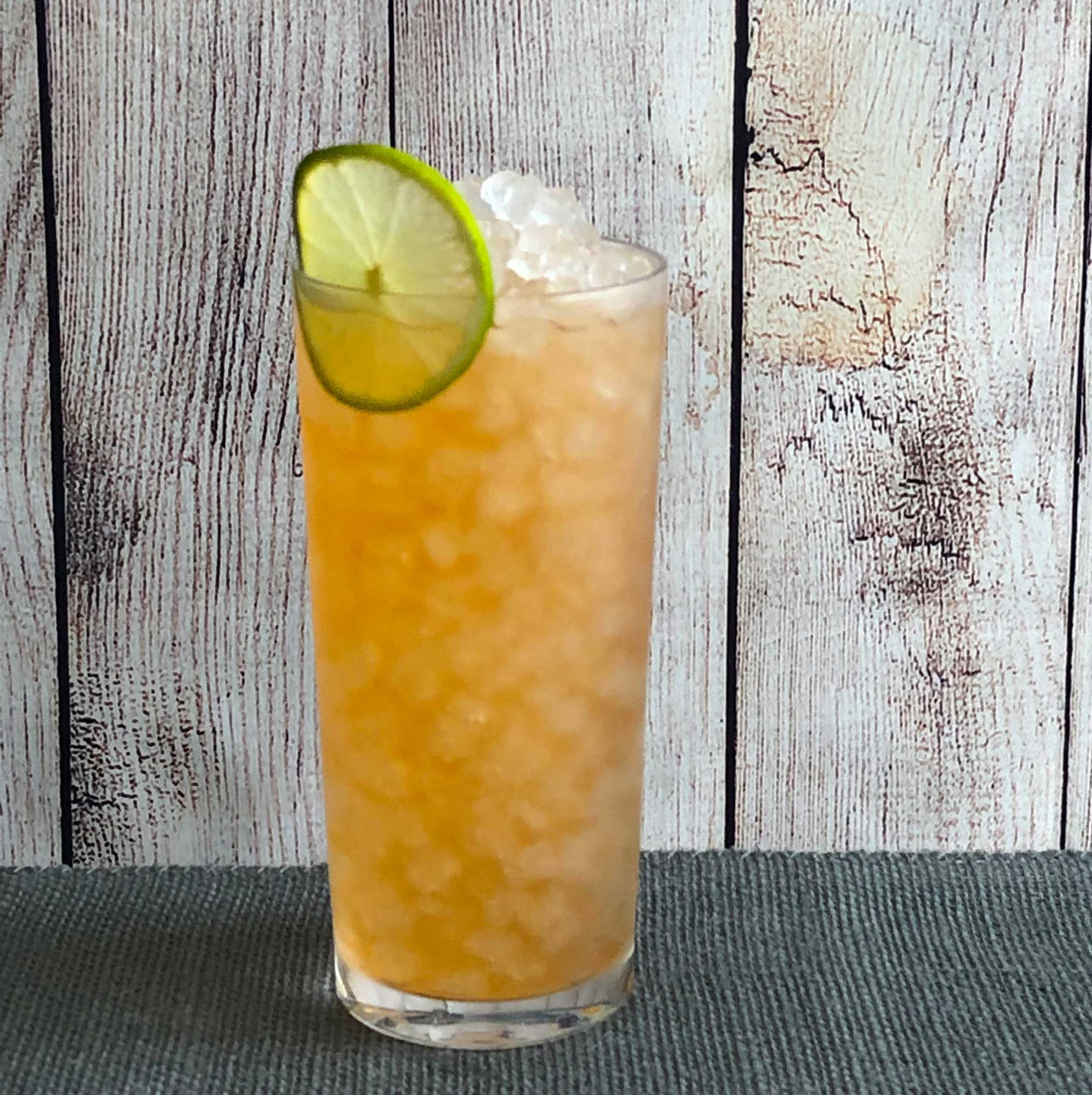 An example of the Barbados Redux, the mixed drink (cocktail) featuring The Scarlet Ibis Trinidad Rum, John D. Taylor's Velvet Falernum, lime juice, and Angostura bitters; photo by Lee Edwards
