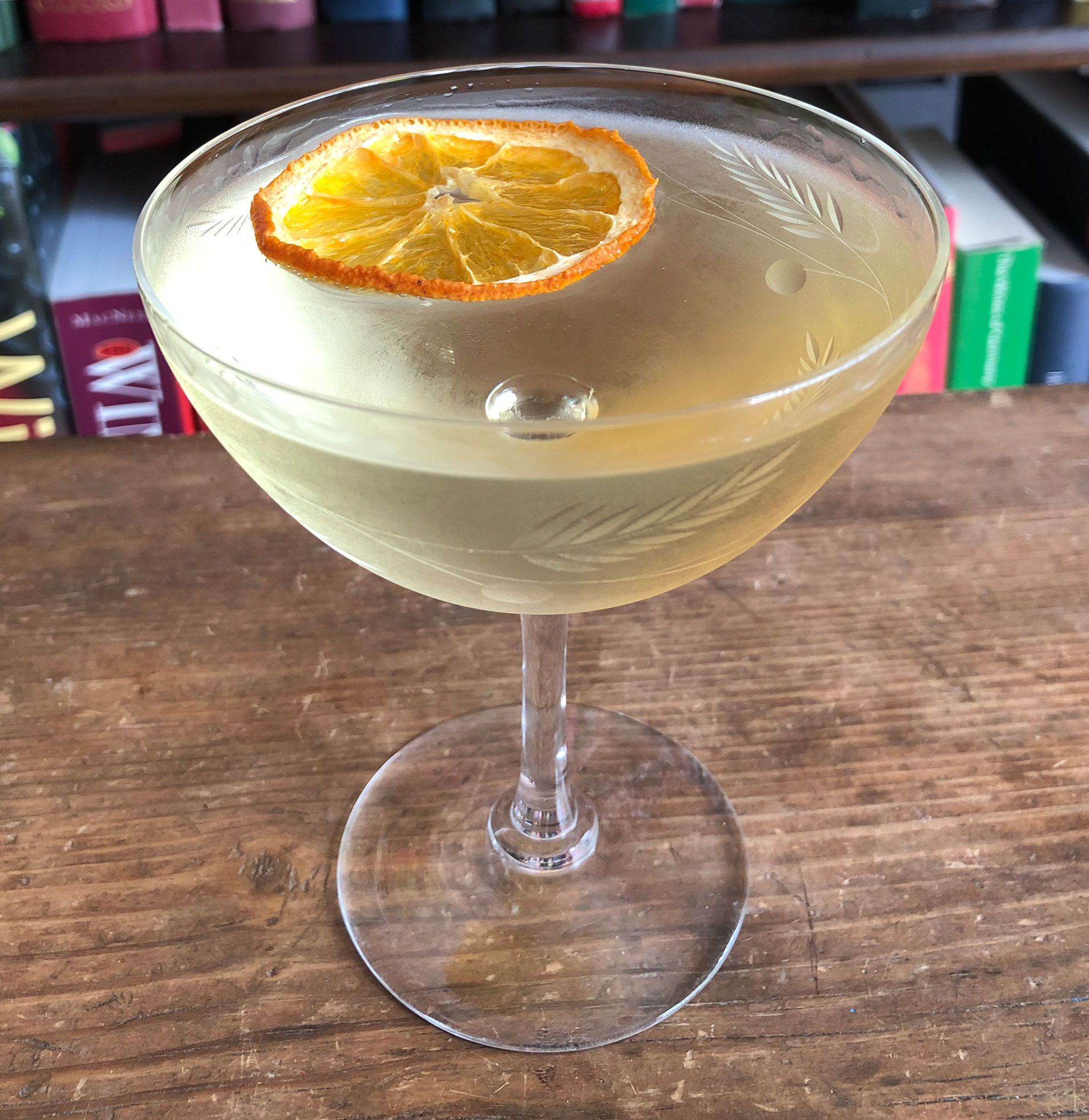 An example of the Ford Cocktail, the mixed drink (cocktail) featuring Hayman's Old Tom Gin, Dolin Dry Vermouth de Chambéry, and Bénédictine; photo by Lee Edwards