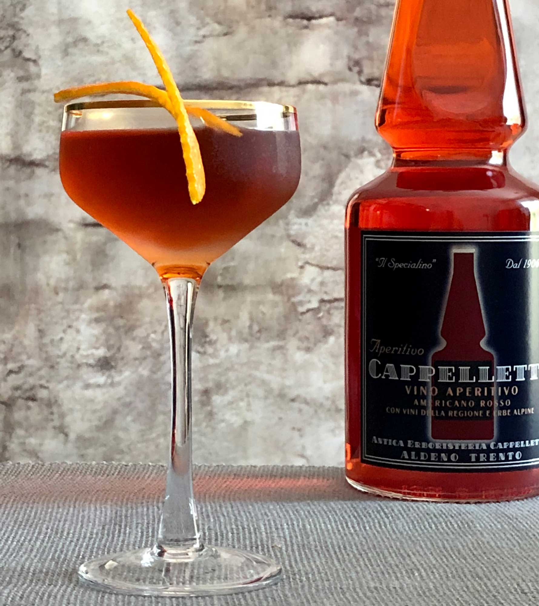 An example of the El Boulevard, the mixed drink (cocktail) featuring añejo tequila, Aperitivo Cappelletti, and Dolin Rouge Vermouth de Chambéry; photo by Lee Edwards