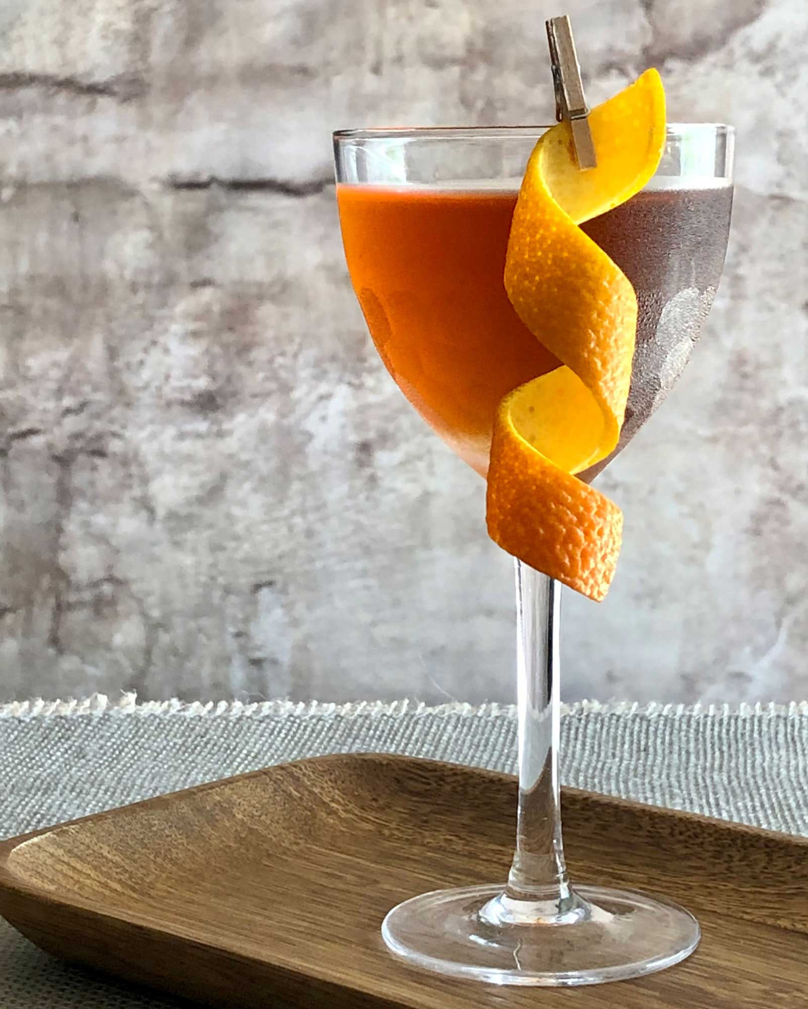 An example of the Tlaquepaque, the mixed drink (cocktail) featuring blanco tequila, Cocchi Vermouth di Torino, and orange bitters; photo by Lee Edwards
