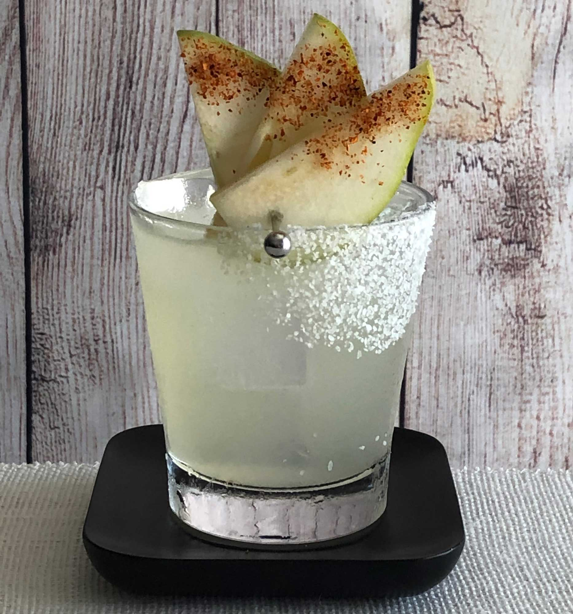 An example of the Ultimate Pear Margarita, the mixed drink (cocktail) featuring blanco tequila, Rothman & Winter Orchard Pear Liqueur, and lime juice; photo by Lee Edwards