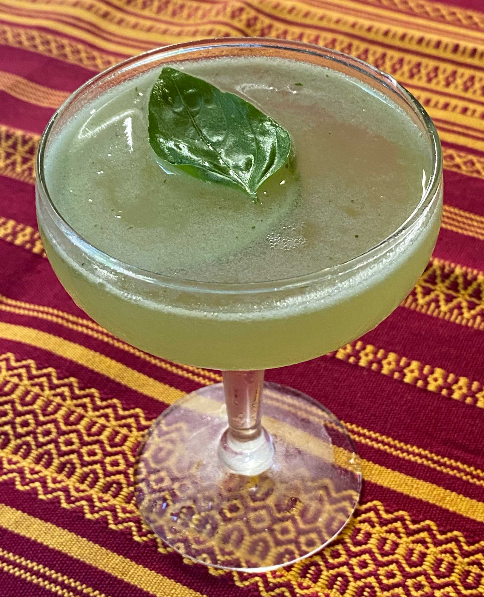 An example of the Basil South Side, the mixed drink (cocktail) featuring blanco tequila, Salers Gentian Apéritif, and lime juice; photo by Martin Doudoroff