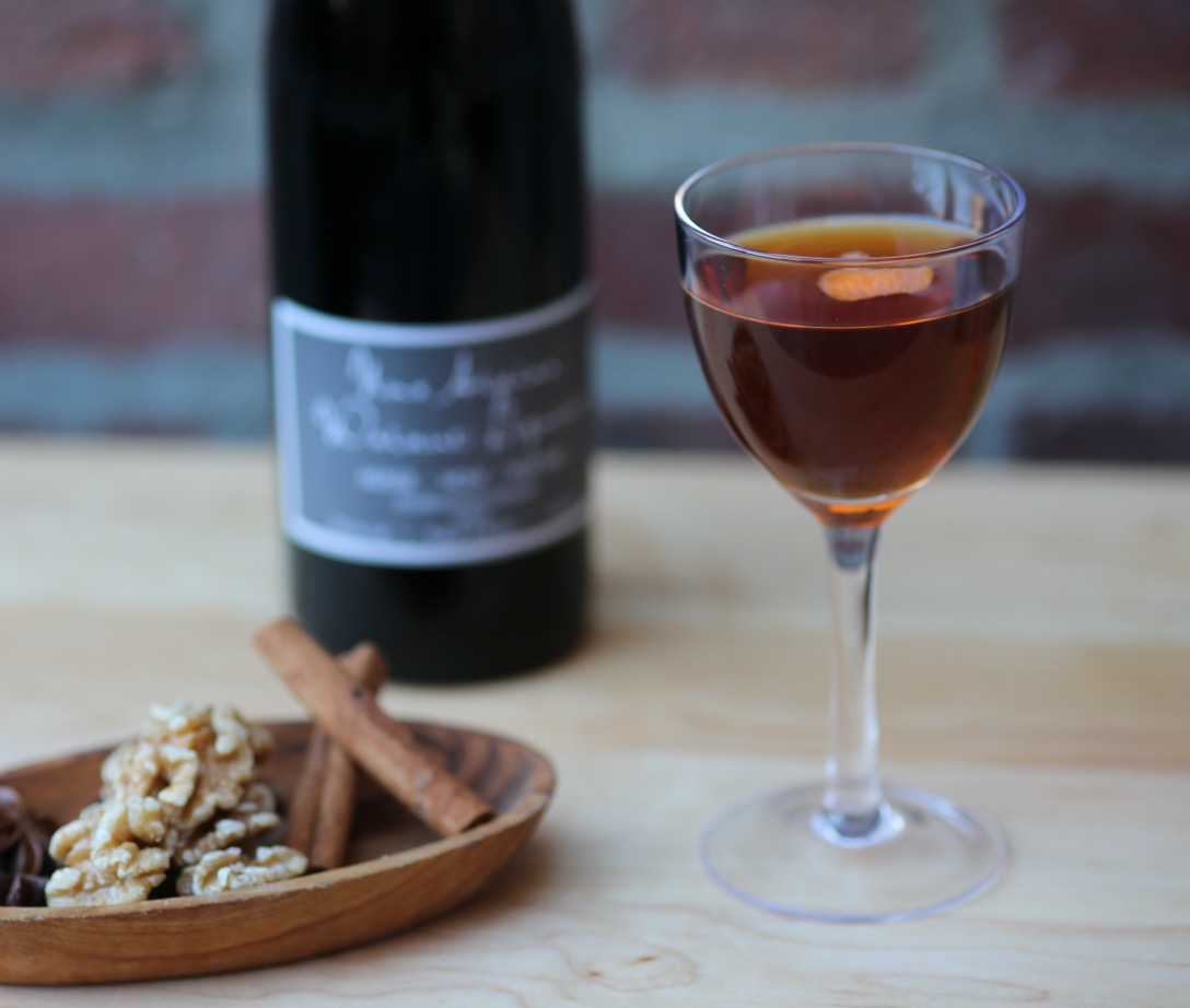 An example of the Black Manhattan, the mixed drink (cocktail) featuring rye whiskey, Cocchi Vermouth di Torino, and Nux Alpina Walnut Liqueur; photo by Lauren Clark