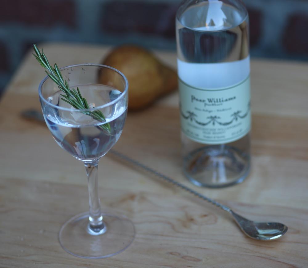 An example of the Bartlett Pear Martini, the mixed drink (cocktail) featuring Purkhart Pear Williams Eau-de-Vie, Dolin Blanc Vermouth de Chambéry or Dolin Dry Vermouth de Chambéry, and orange bitters; photo by Lauren Clark