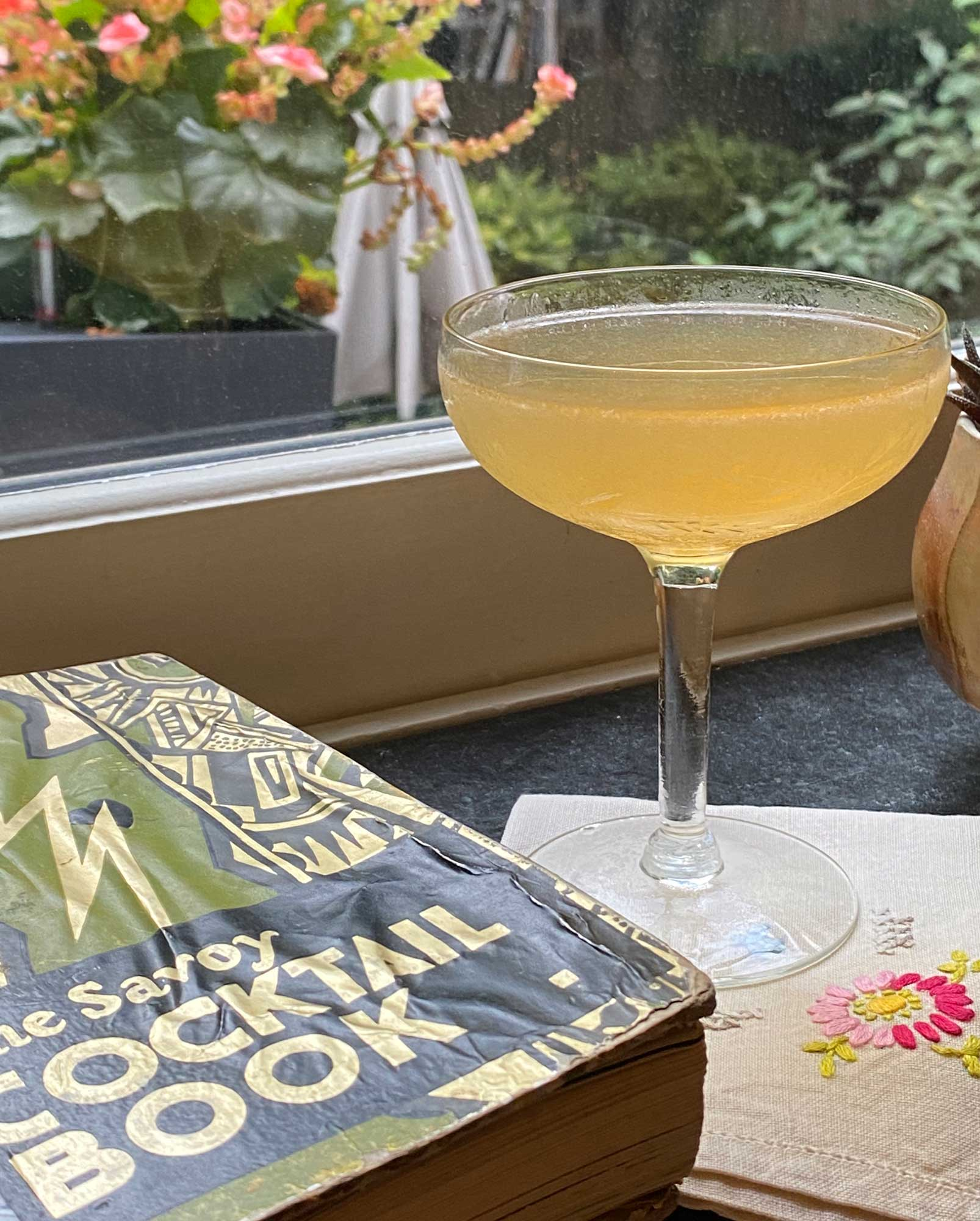 An example of the Improved Culross, the mixed drink (cocktail) featuring Rothman & Winter Orchard Apricot Liqueur, rhum agricole blanc, Cocchi Americano Bianco, and lemon juice; photo by Martin Doudoroff