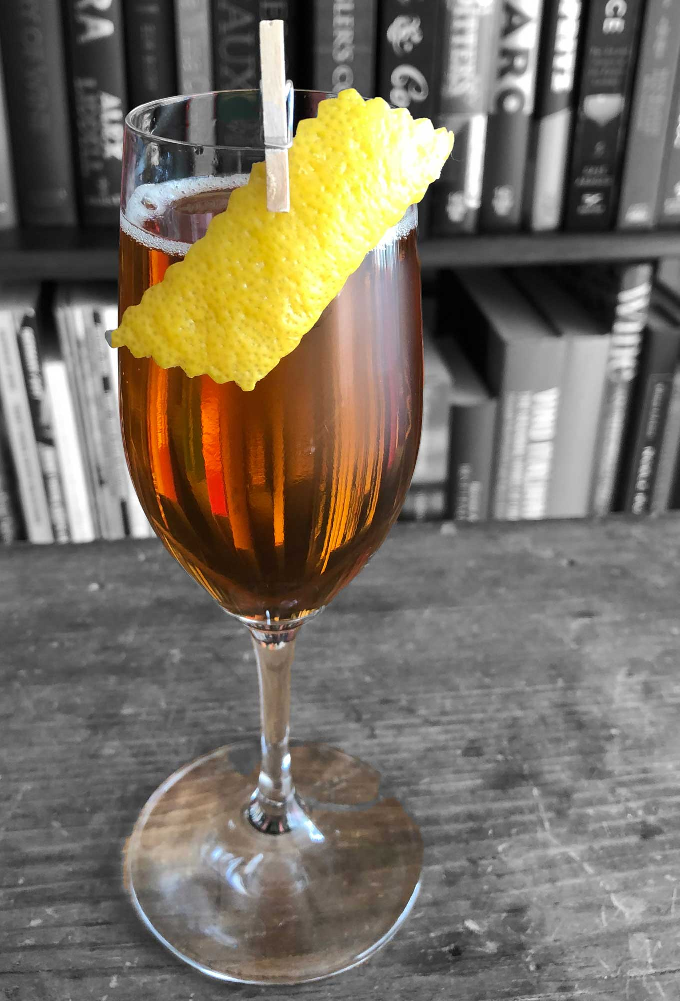 An example of the Daisy Buchanan, the mixed drink (daisy), by Andrew Hotis, Heirloom, New Haven, CT, featuring sparkling wine, calvados, and Rothman & Winter Orchard Pear Liqueur; photo by Lee Edwards