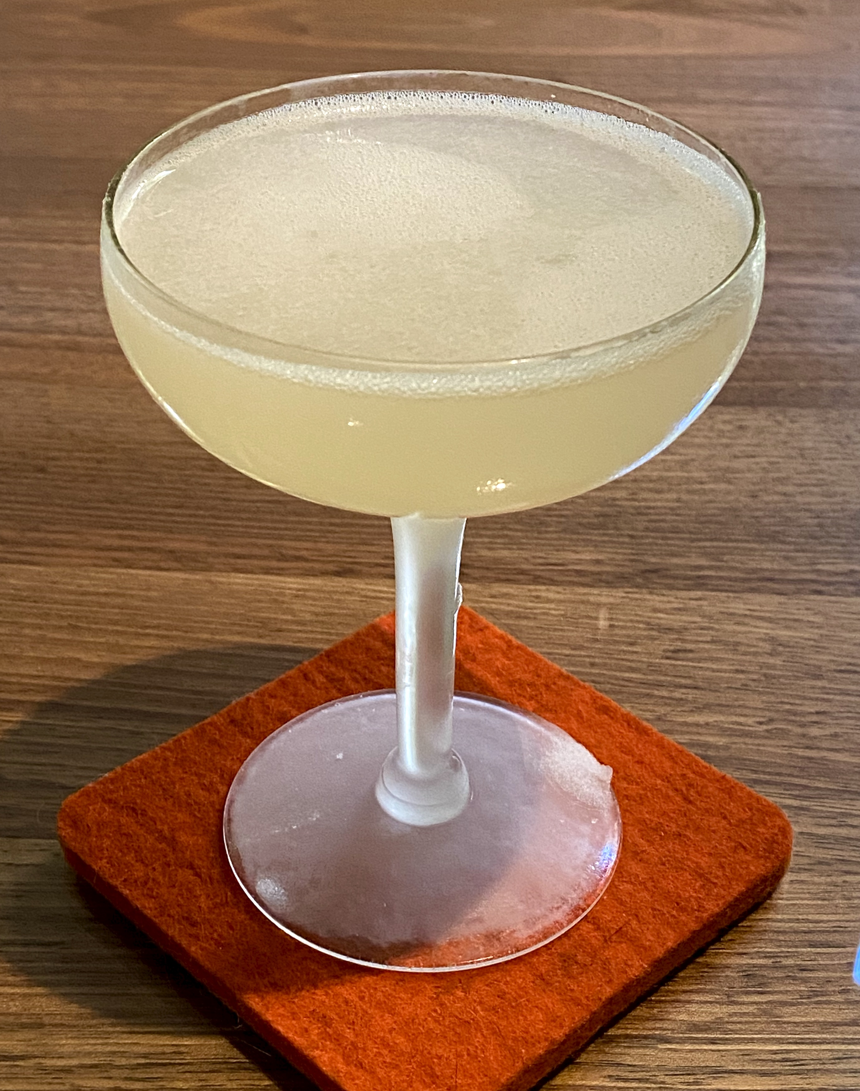 An example of the Mountain Daisy, the mixed drink (daisy) featuring Salers Gentian Apéritif, Cocchi Americano Bianco, and lime juice; photo by Martin Doudoroff