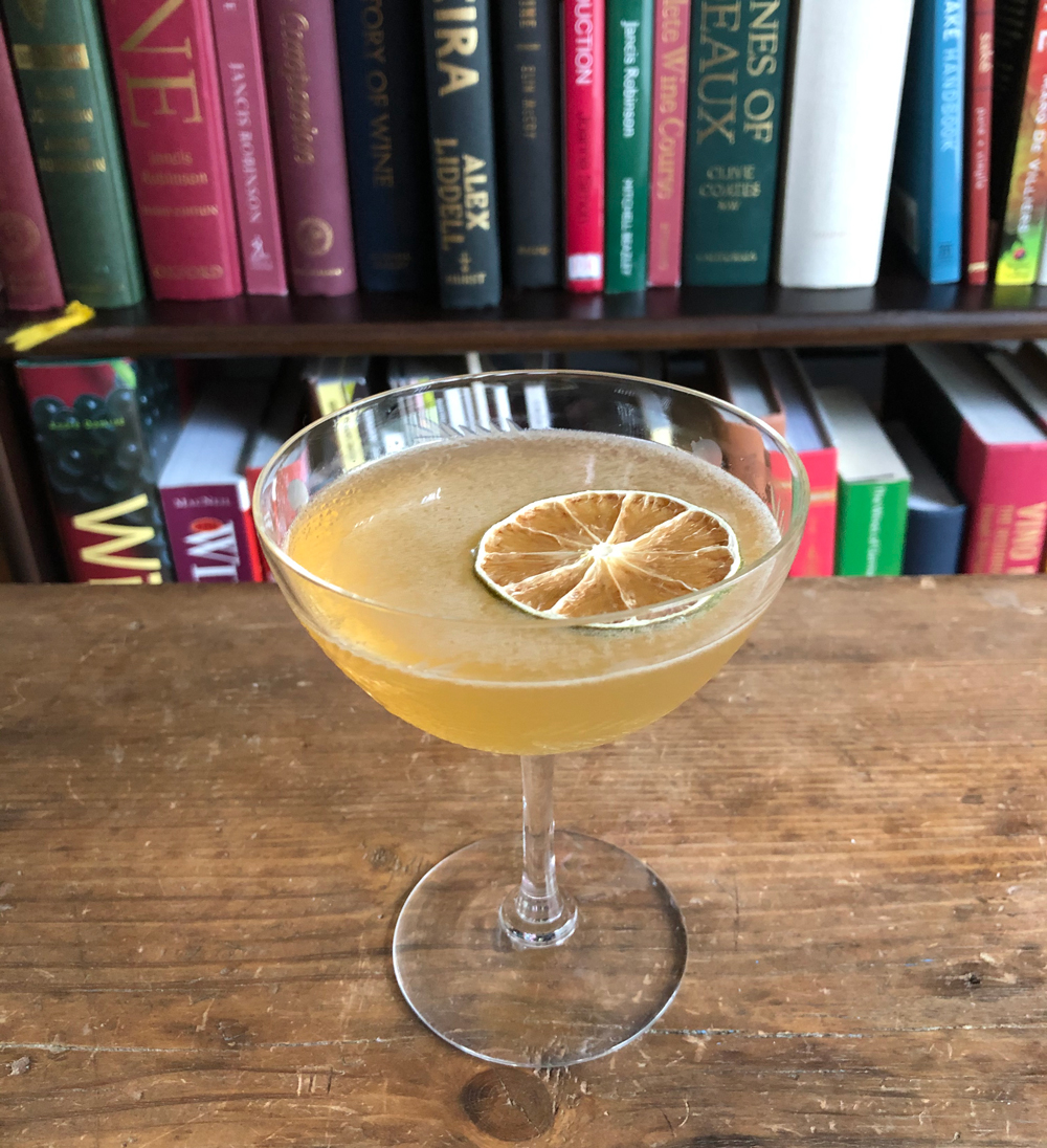 An example of the Jamaica Daiquiri, the mixed drink (cocktail) featuring Smith & Cross Traditional Jamaica Rum, lime juice, simple syrup, and Angostura bitters; photo by Lee Edwards