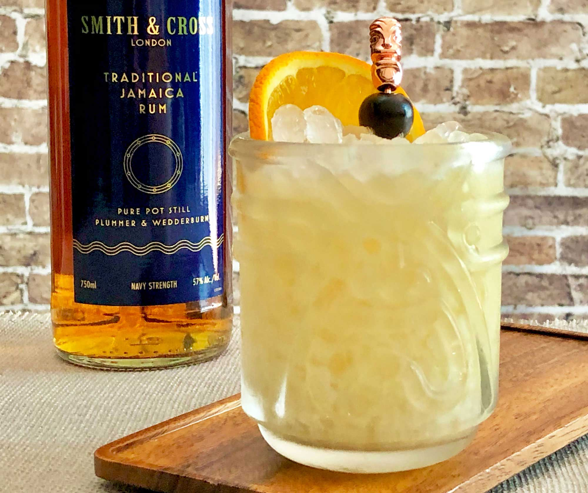An example of the Punk Killer, the mixed drink (cocktail) featuring Smith & Cross Traditional Jamaica Rum, pineapple juice, orange juice, and coconut cream; photo by Lee Edwards