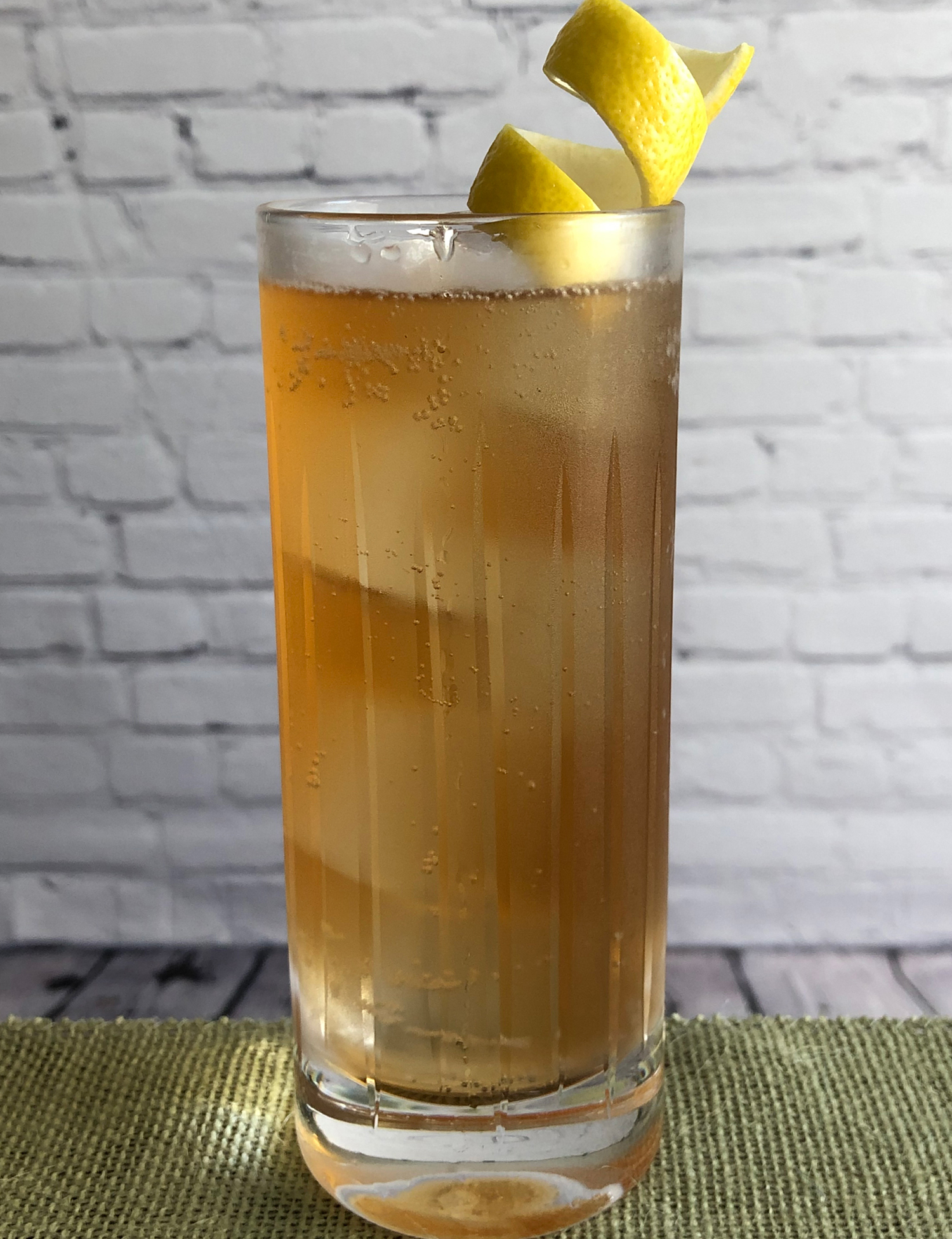 An example of the Shikoku, the mixed drink (cocktail), by Charles Coykendall, Benedetto, Cambridge, MA, featuring soda water, japanese whisky, and Mattei Cap Corse Rouge Quinquina; photo by Lee Edwards