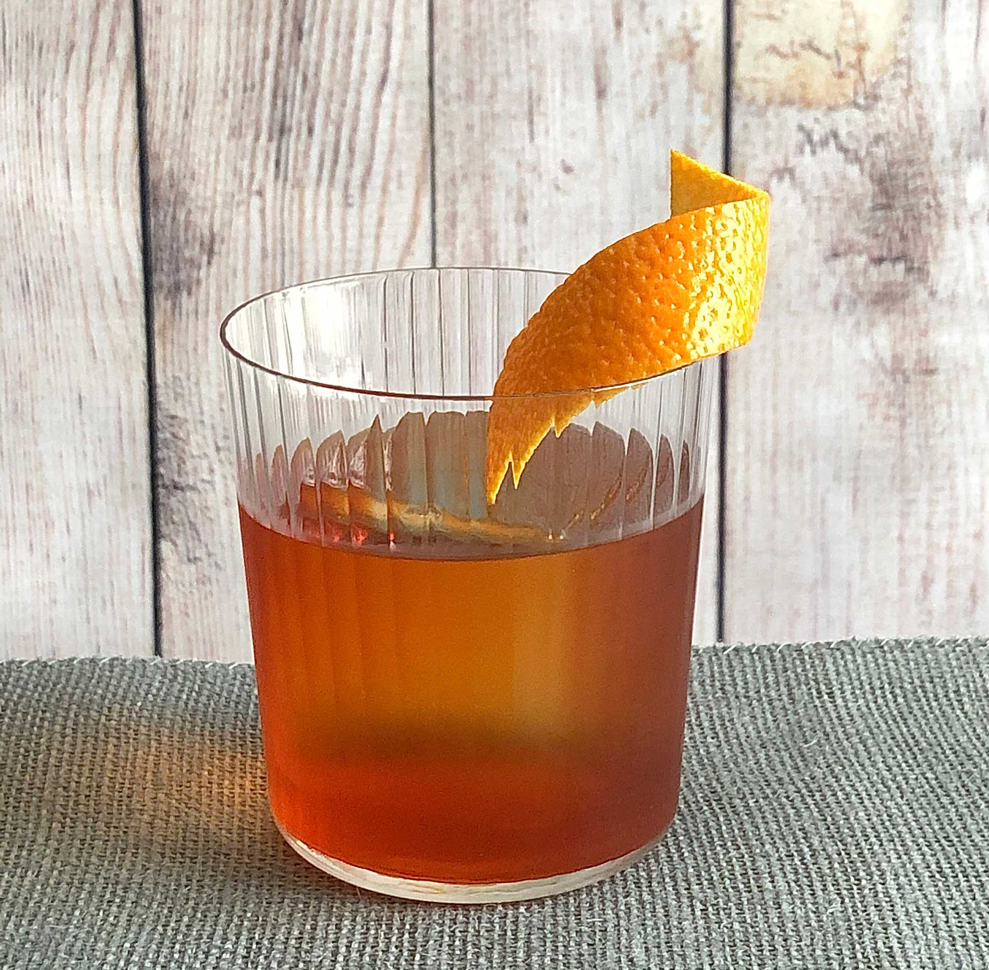 An example of the Boulevardier, the mixed drink (cocktail) featuring Mattei Cap Corse Rouge Quinquina, Aperitivo Cappelletti, and rye whiskey; photo by Lee Edwards