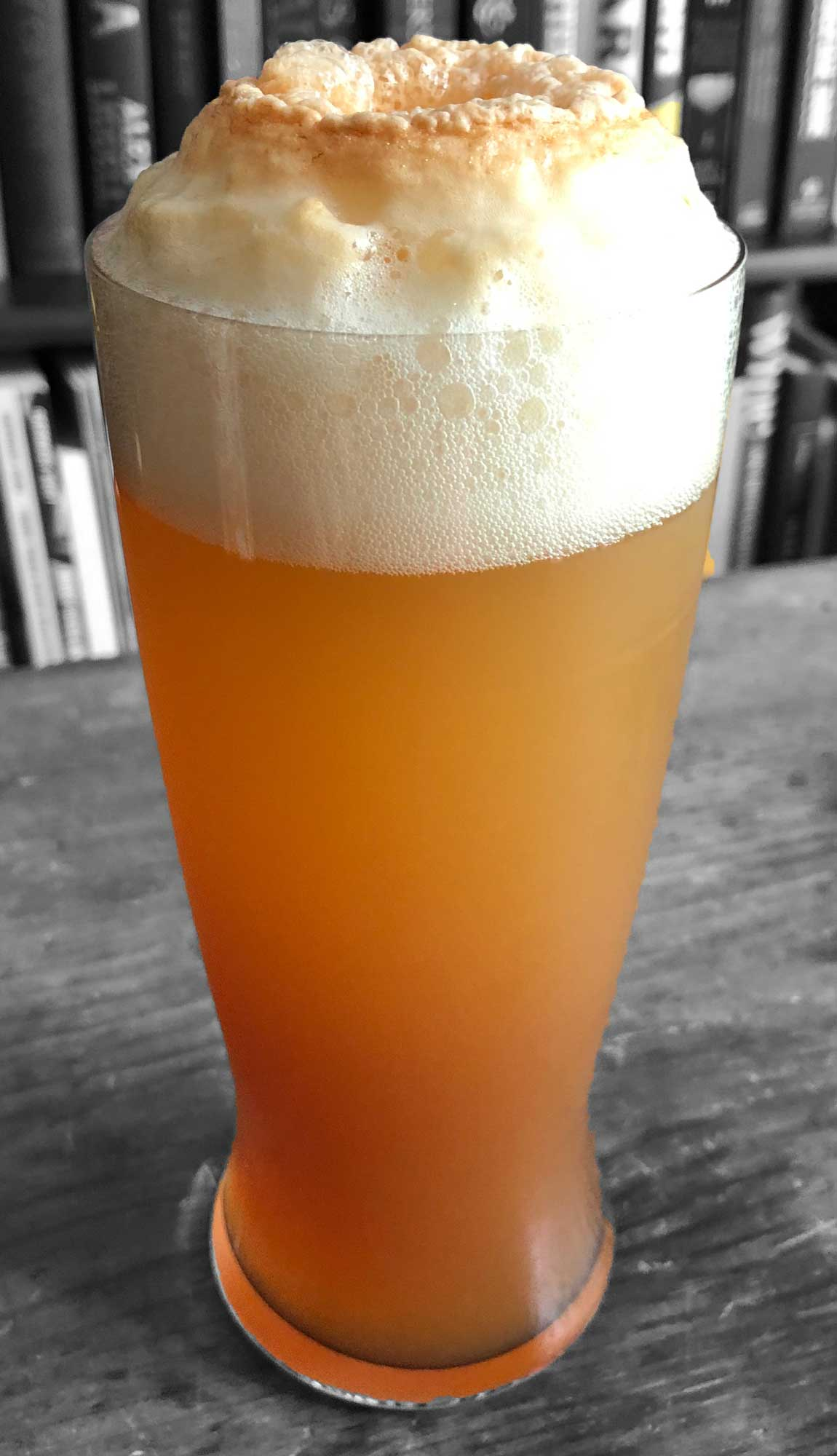 An example of the Draught of Smoke, the mixed drink (cocktail) featuring grapefruit radler or grapefruit or india pale ale, and Amaro Sfumato Rabarbaro; photo by Lee Edwards
