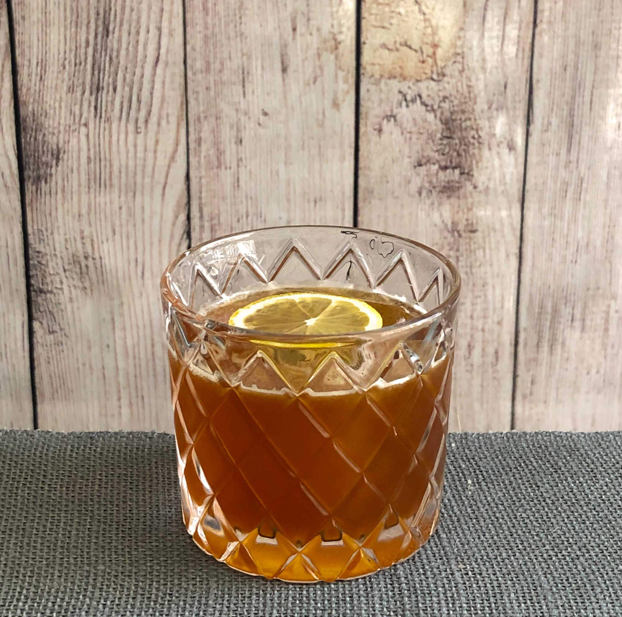 An example of the Campfire Sour, the mixed drink (sour) featuring Amaro Sfumato Rabarbaro, bourbon whiskey, and lemon juice; photo by Lee Edwards