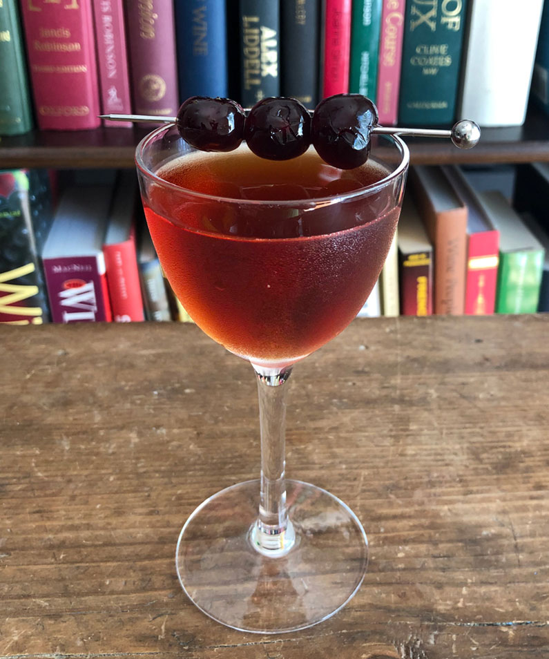 An example of the Rob Roy, the mixed drink (cocktail) featuring blended scotch whisky, and Cocchi Dopo Teatro Vermouth Amaro; photo by Lee Edwards