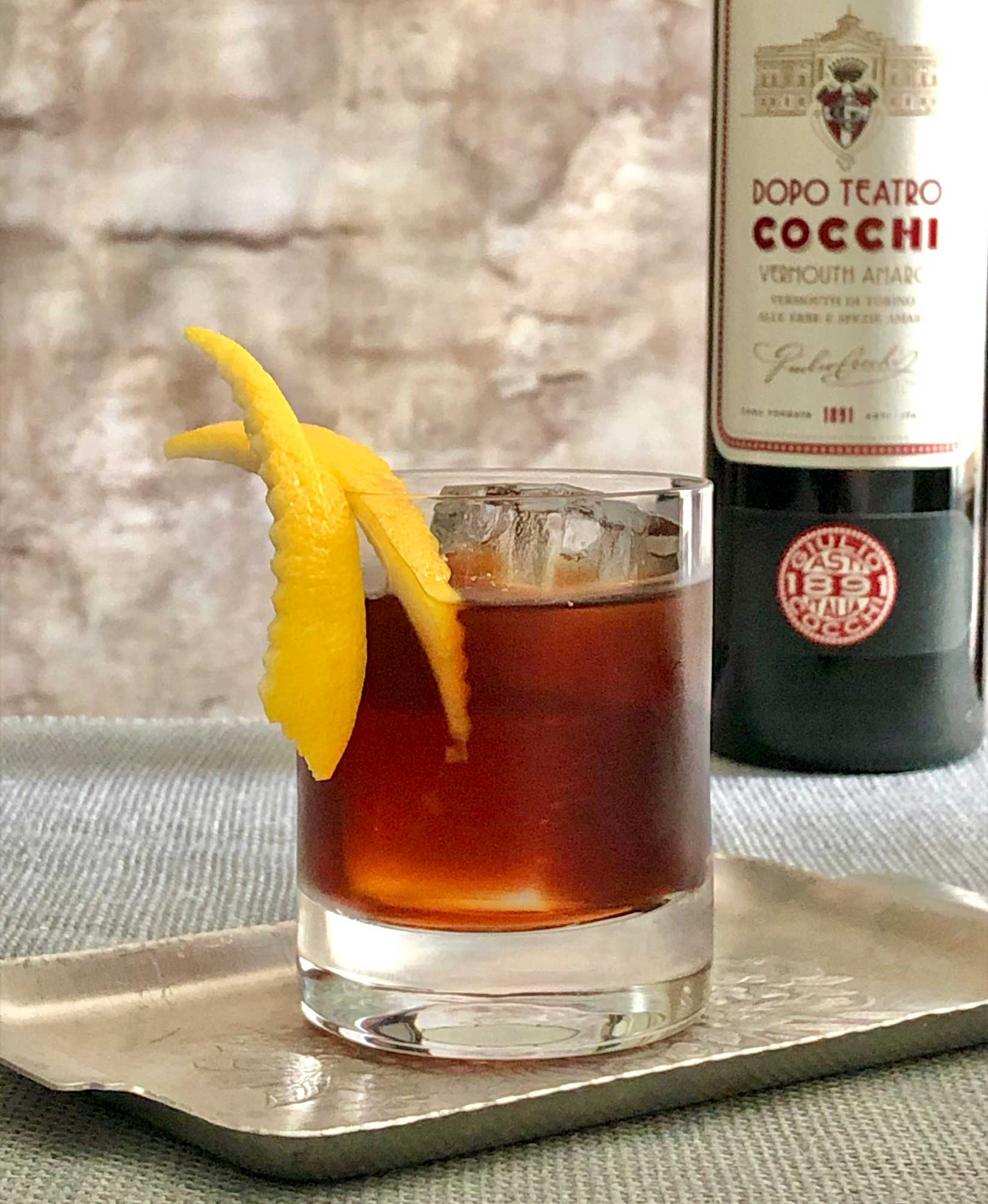 An example of the Dopo Teatro, the mixed drink (cocktail) featuring Cocchi Dopo Teatro Vermouth Amaro; photo by Lee Edwards