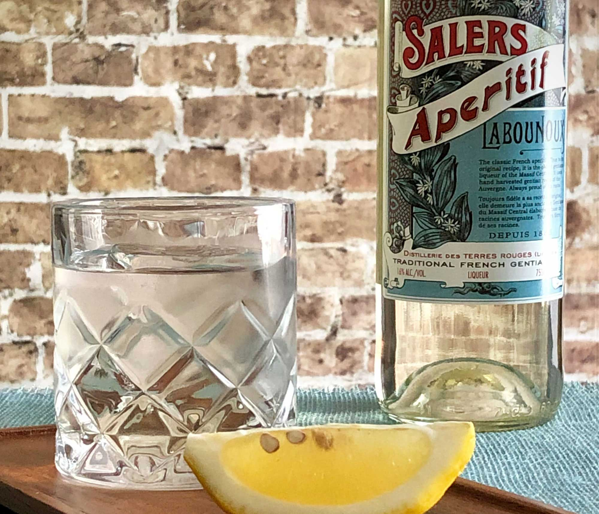 An example of the Salers Aperitif, the mixed drink (cocktail) featuring Salers Gentian Apéritif; photo by Lee Edwards