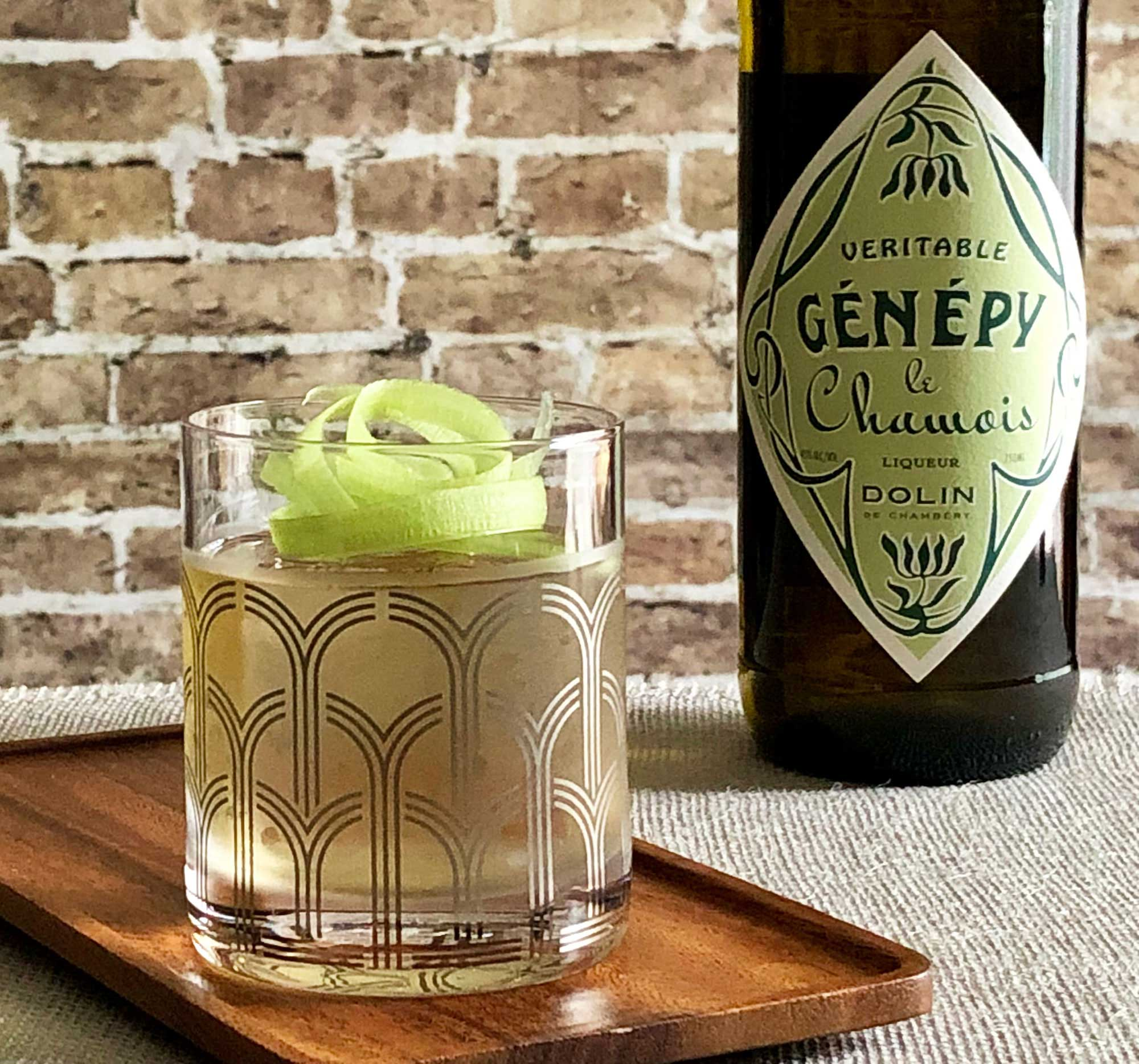 An example of the Gaelic Gardener, the mixed drink (cocktail), by Alex Gregg, Moving Sidewalk, Houston, featuring irish whiskey, Dolin Blanc Vermouth de Chambéry, Dolin Génépy le Chamois Liqueur, and celery bitters; photo by Lee Edwards